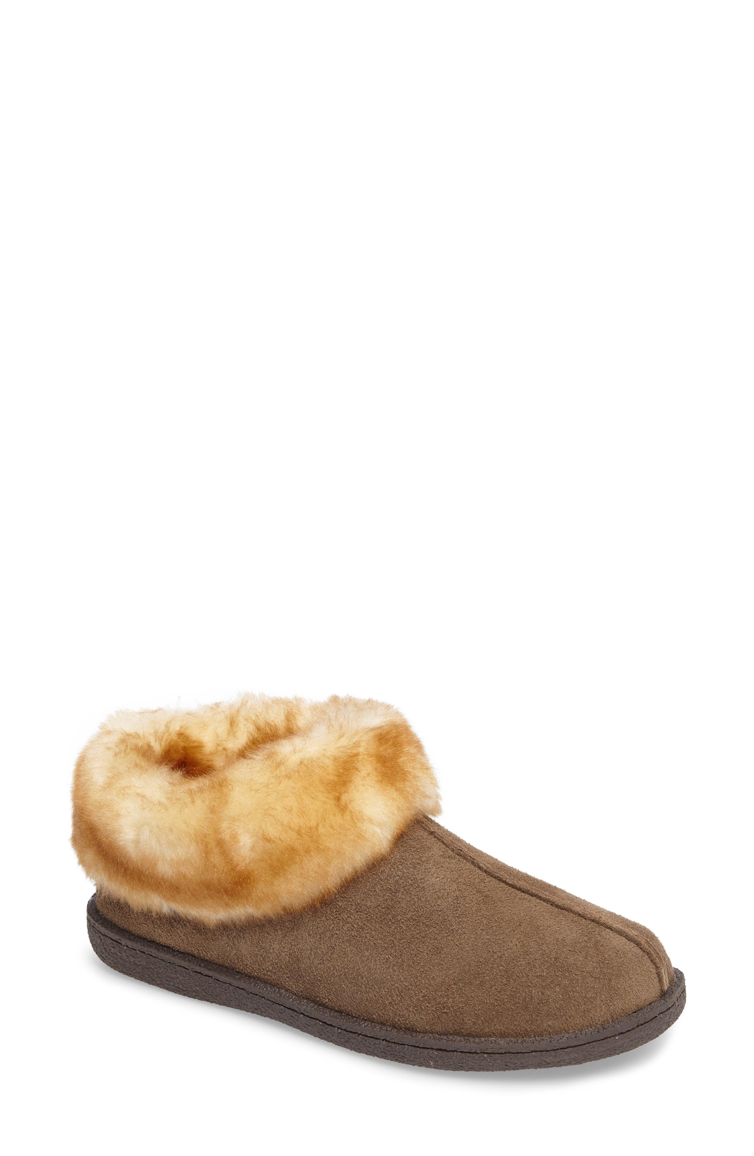 Autumn Ridge II Faux Fur Slipper Bootie,                             Main thumbnail 1, color,                             Walnut Suede