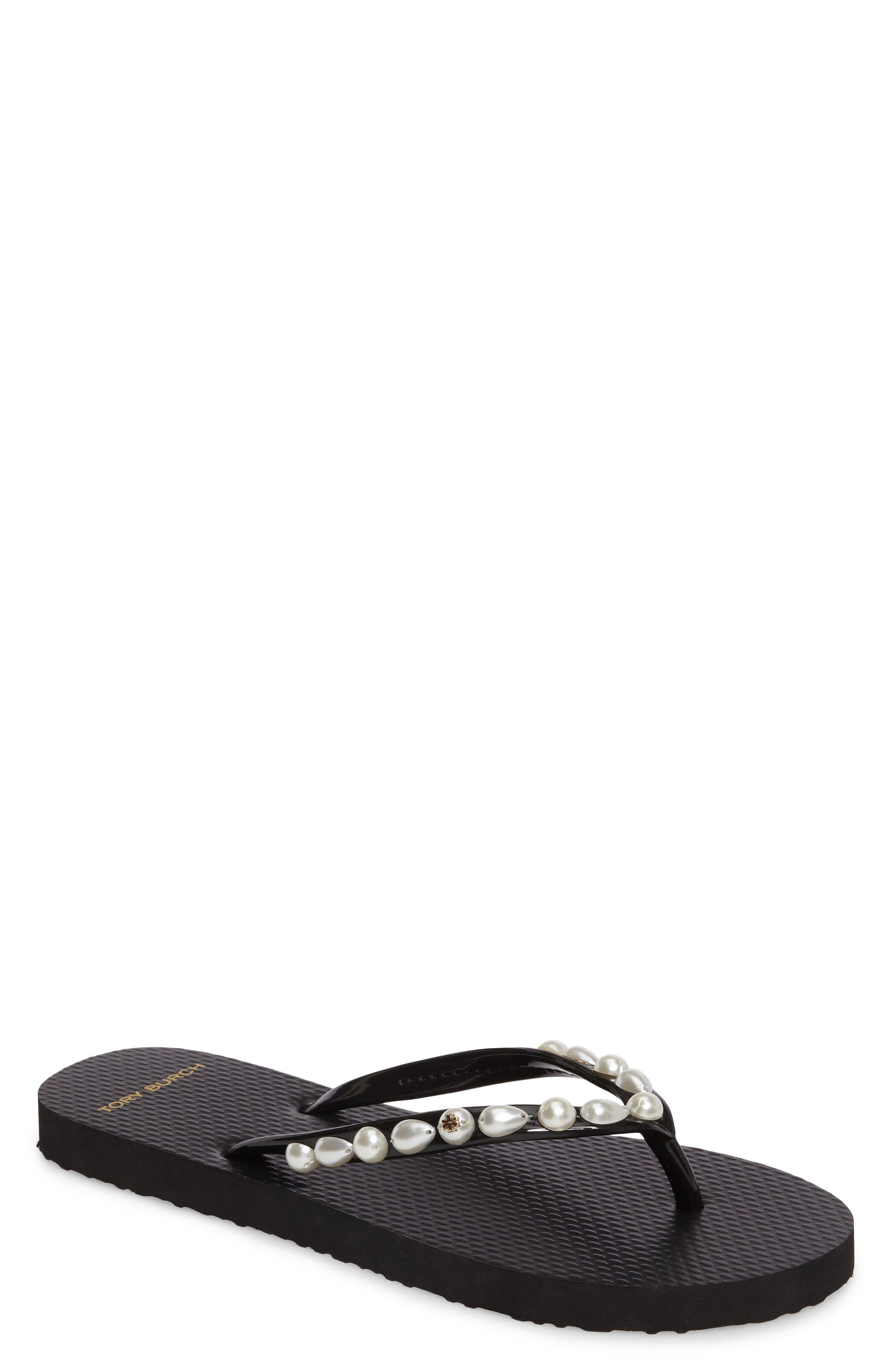 Embellished Flip Flop,                             Main thumbnail 1, color,                             Black