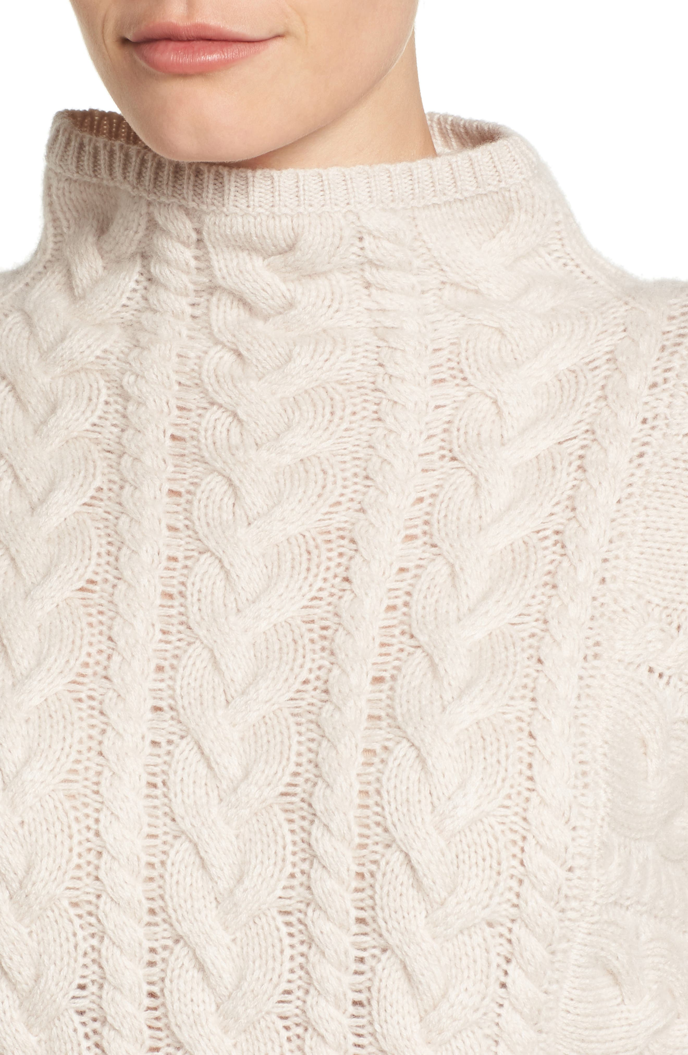 Cashmere Cable Sweater,                             Alternate thumbnail 4, color,                             Beige Pumice Heather