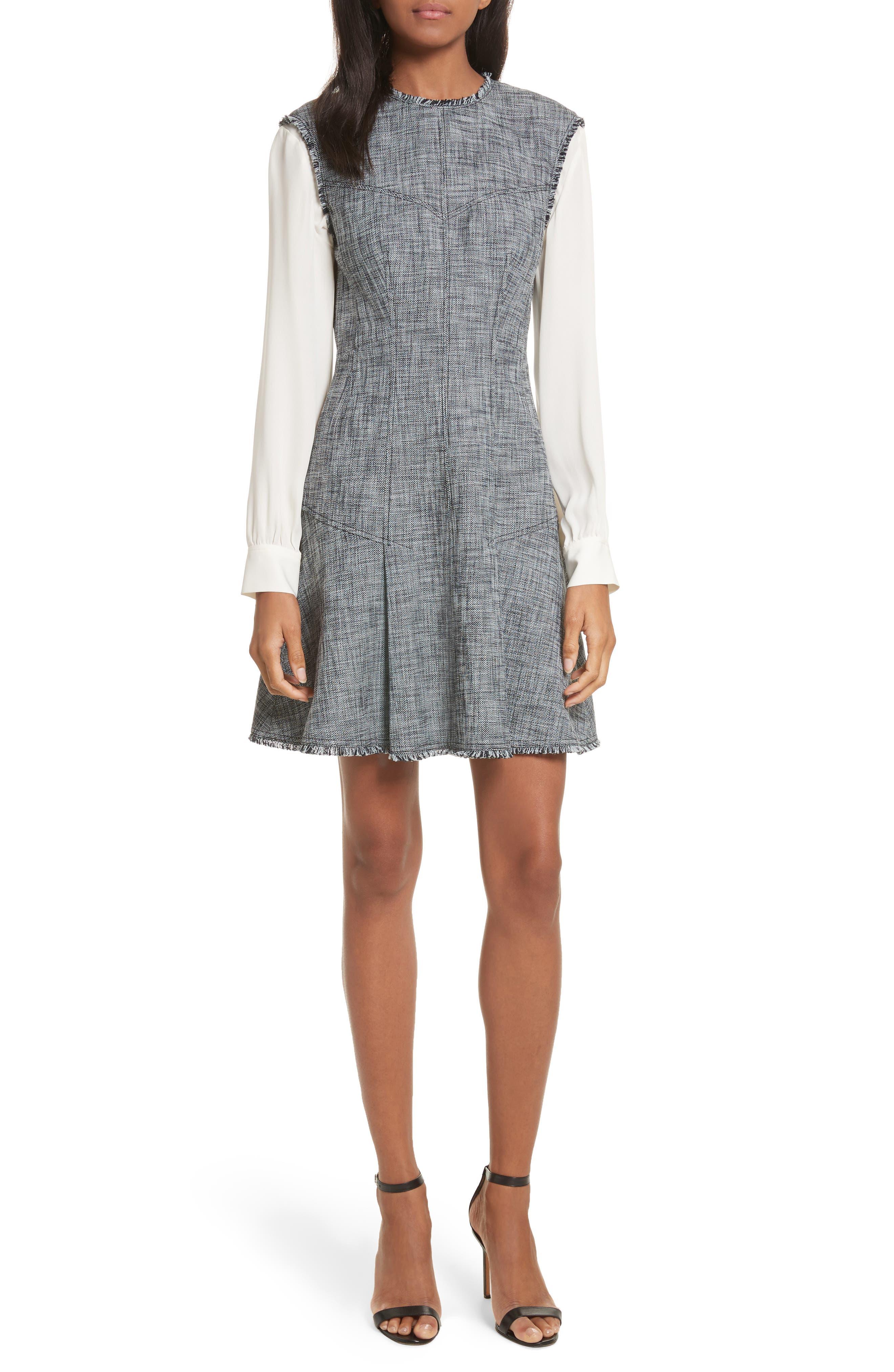 Slub Suiting Fit & Flare Dress,                             Main thumbnail 1, color,                             Grey/ Black Combo