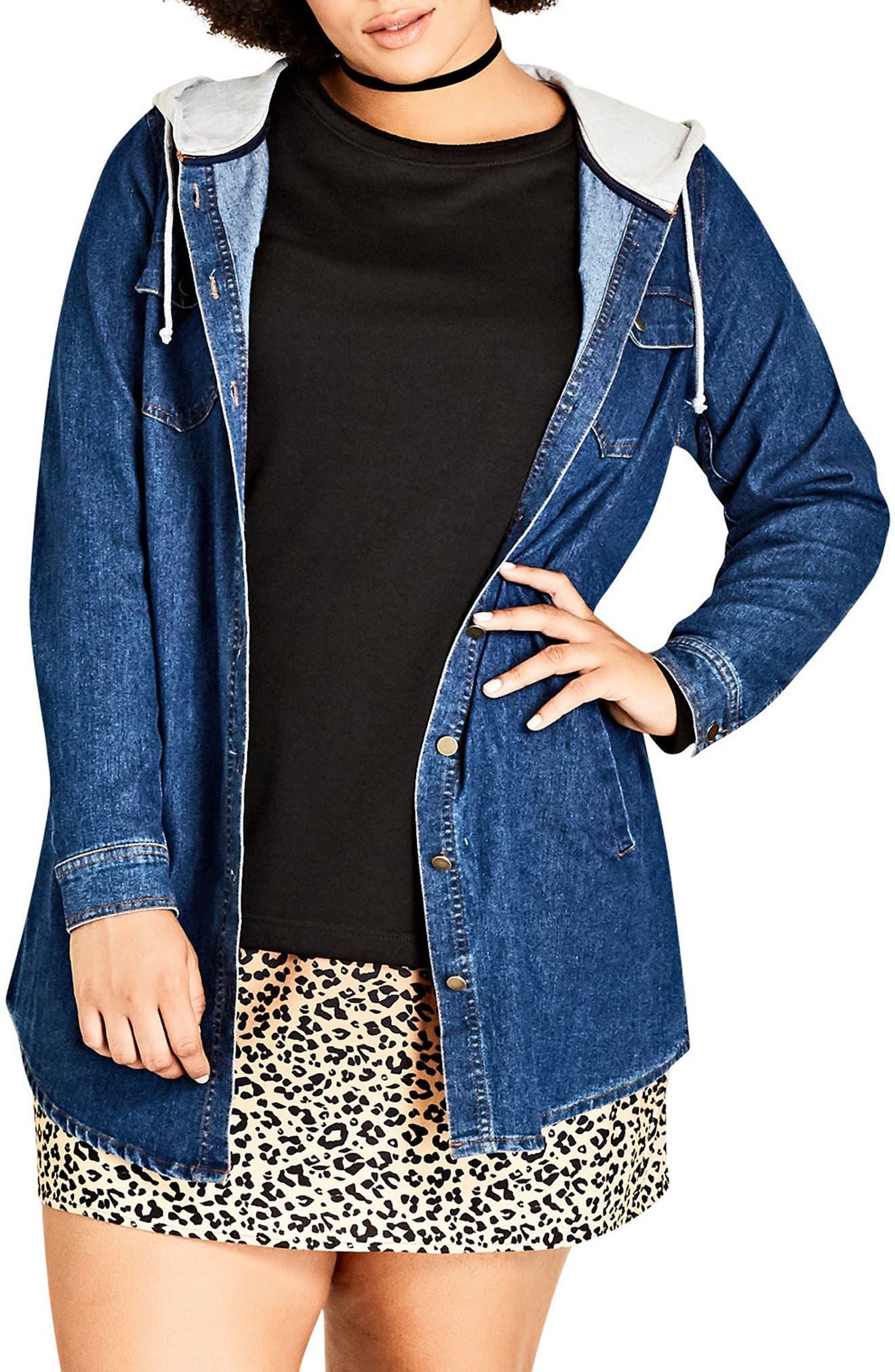 Alternate Image 1 Selected - City Chic Denim Vibe Hooded Jacket (Plus Size)