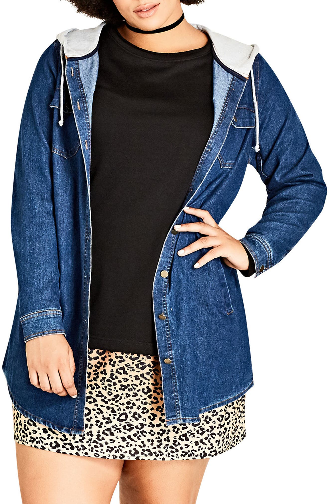 City Chic Denim Vibe Hooded Jacket (Plus Size)