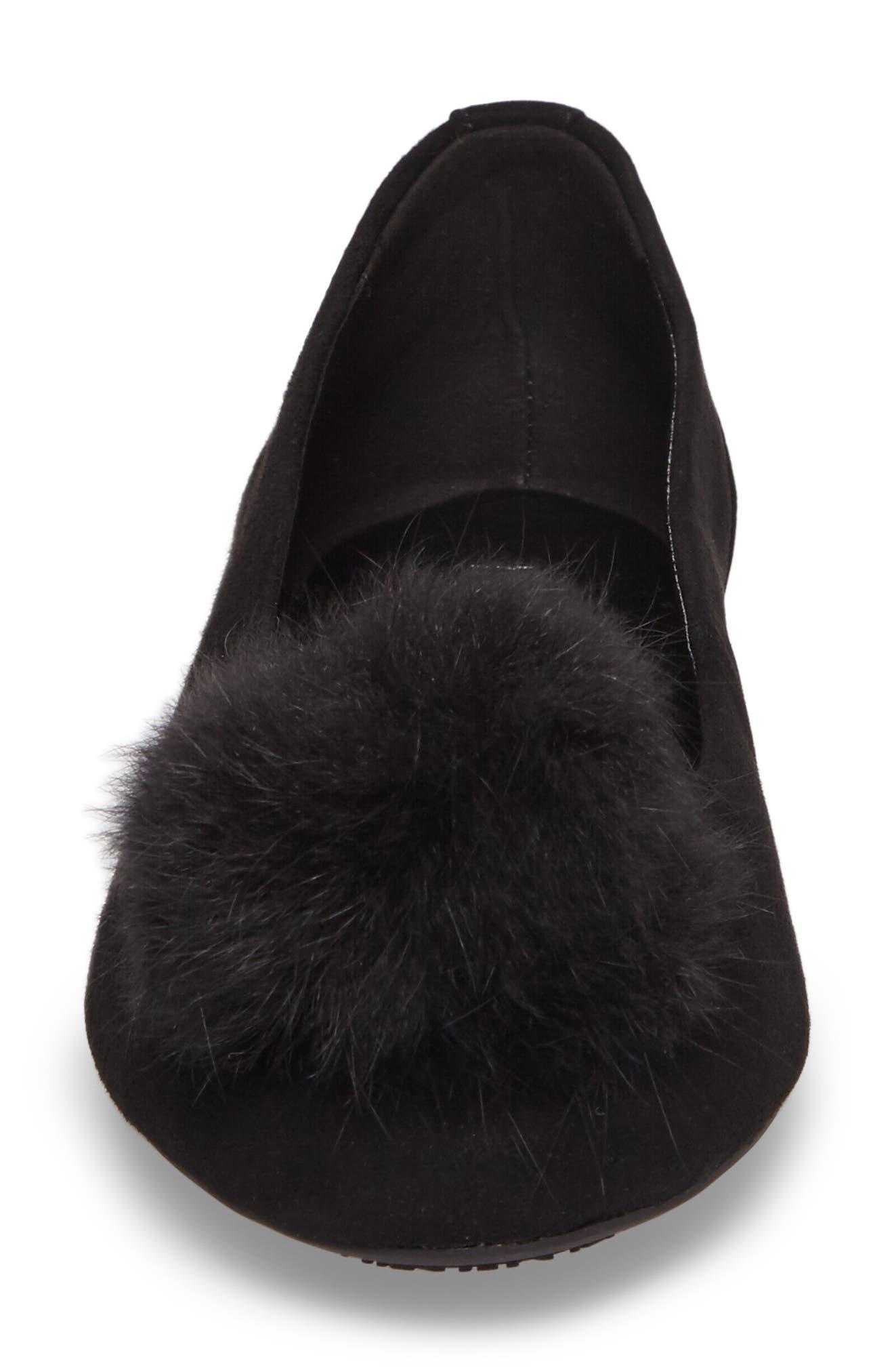 Remi Ballet Flat with Genuine Rabbit Fur Pom,                             Alternate thumbnail 4, color,                             Black Suede