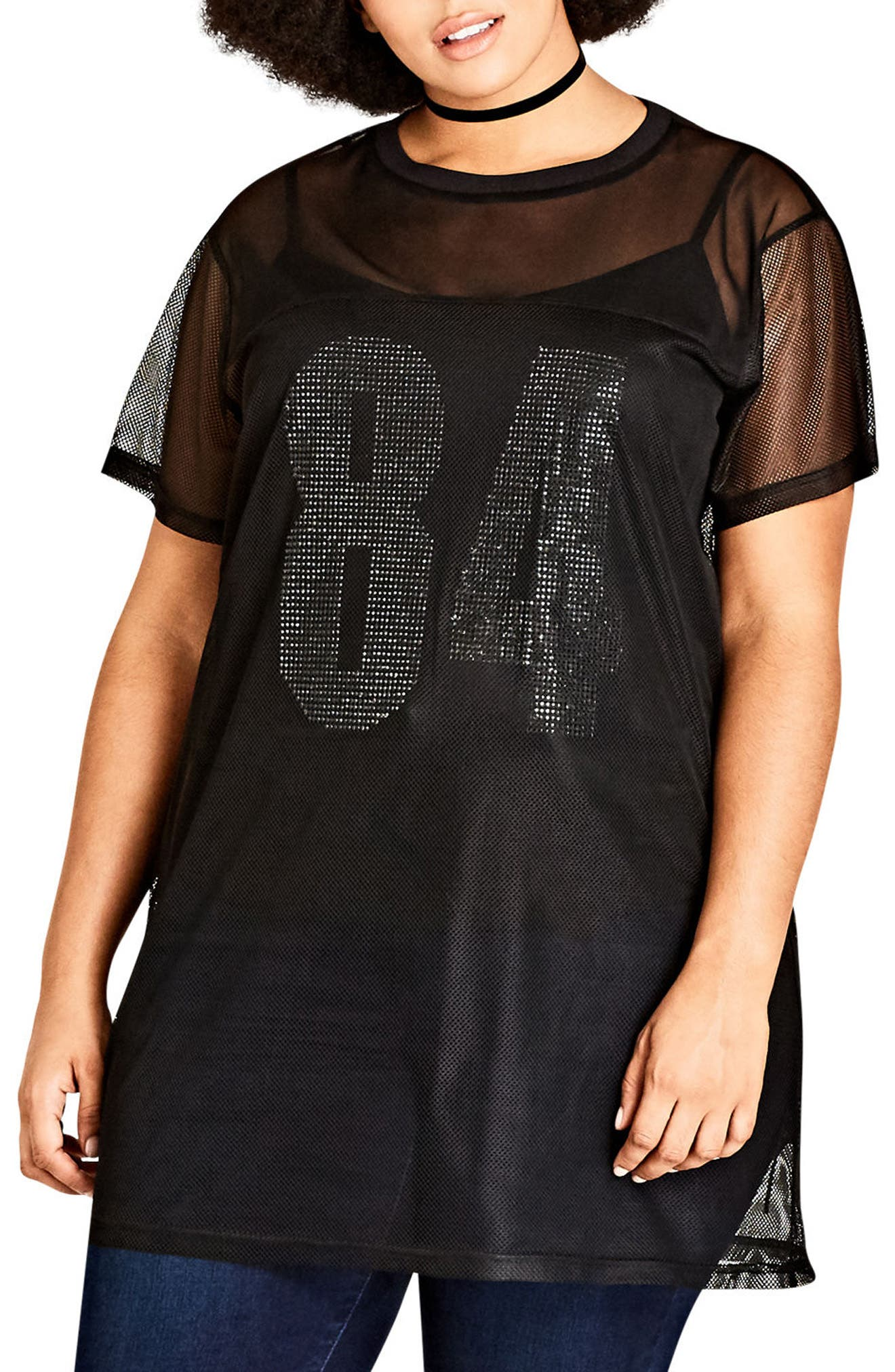 Main Image - City Chic Numbers Up Longline Mesh Top (Plus Size)