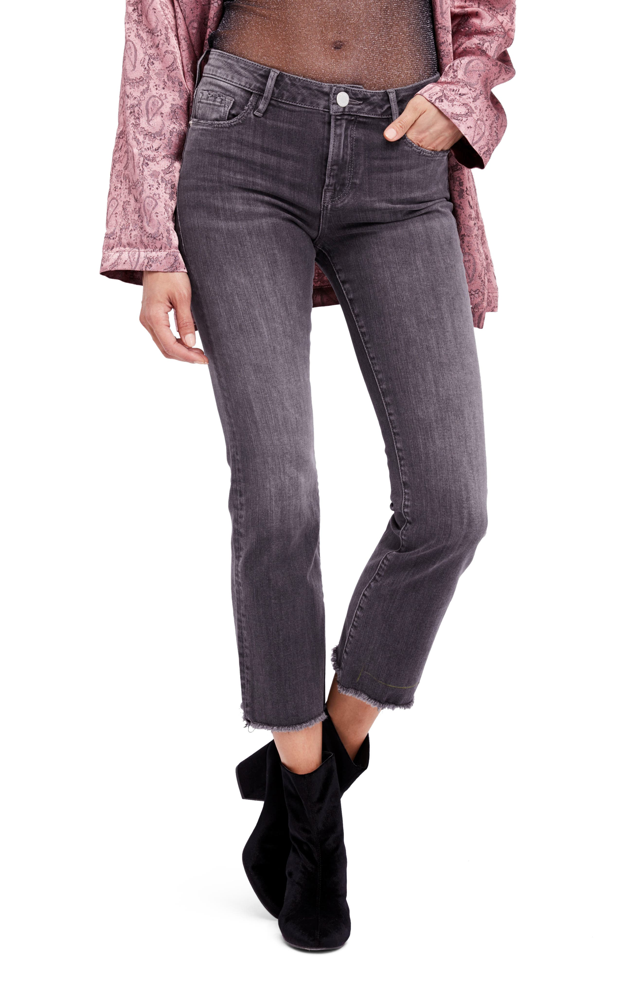 Crop Straight Leg Jeans,                             Main thumbnail 1, color,                             Black