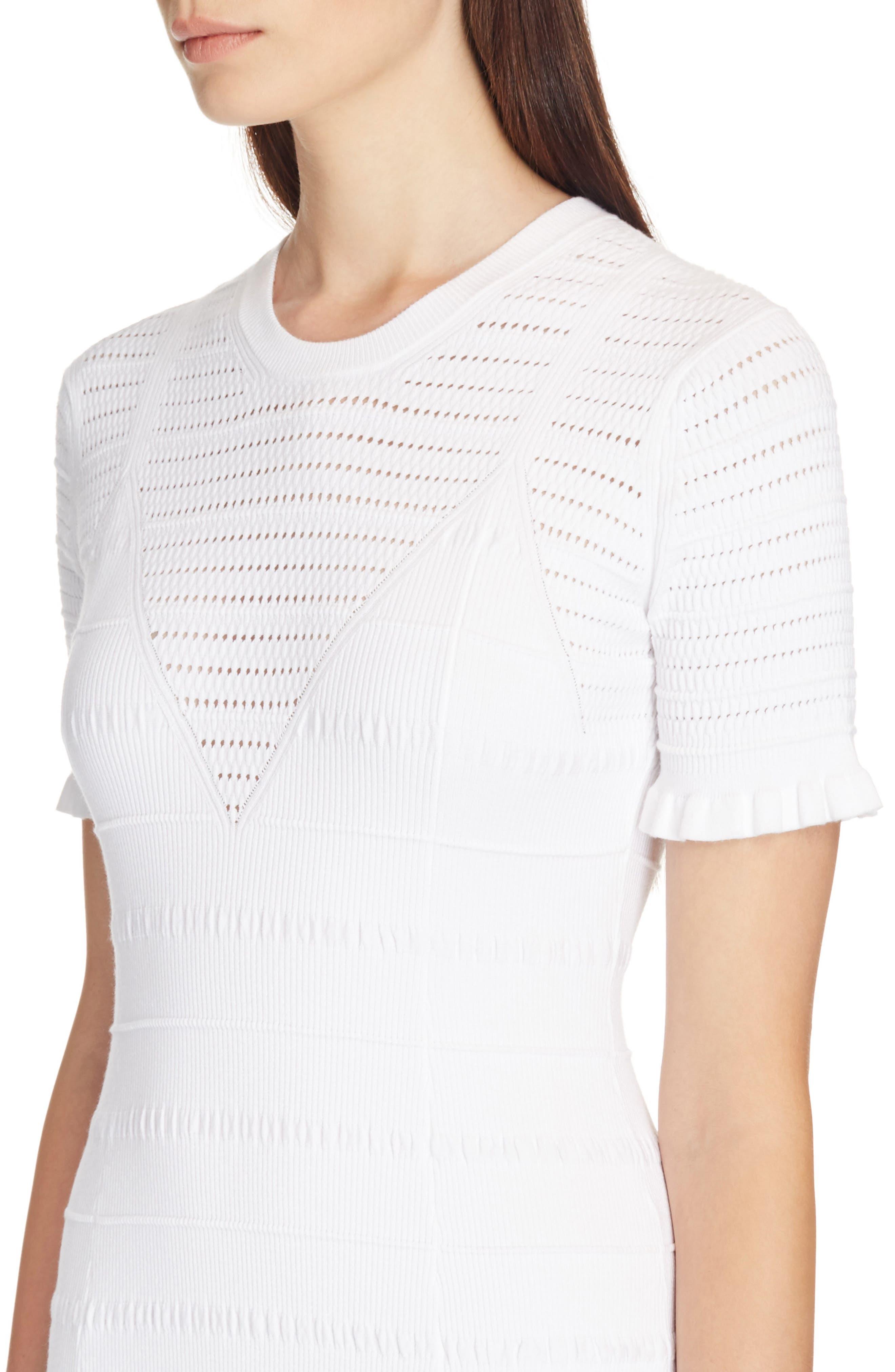 Knit Ruffle Hem Dress,                             Alternate thumbnail 4, color,                             White