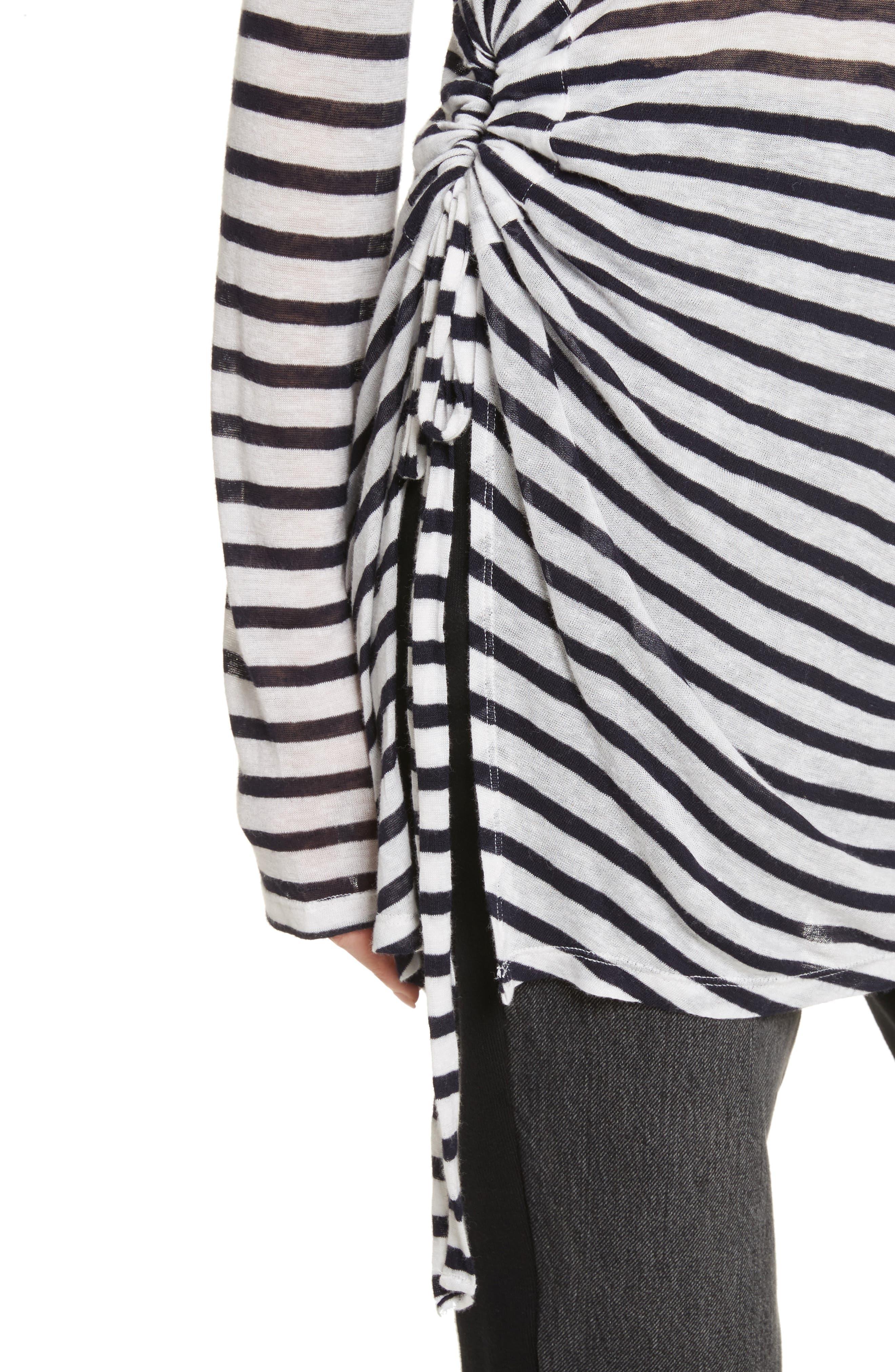 Side Tie Stripe Slub Jersey Tee,                             Alternate thumbnail 3, color,                             Ink/ Ivory