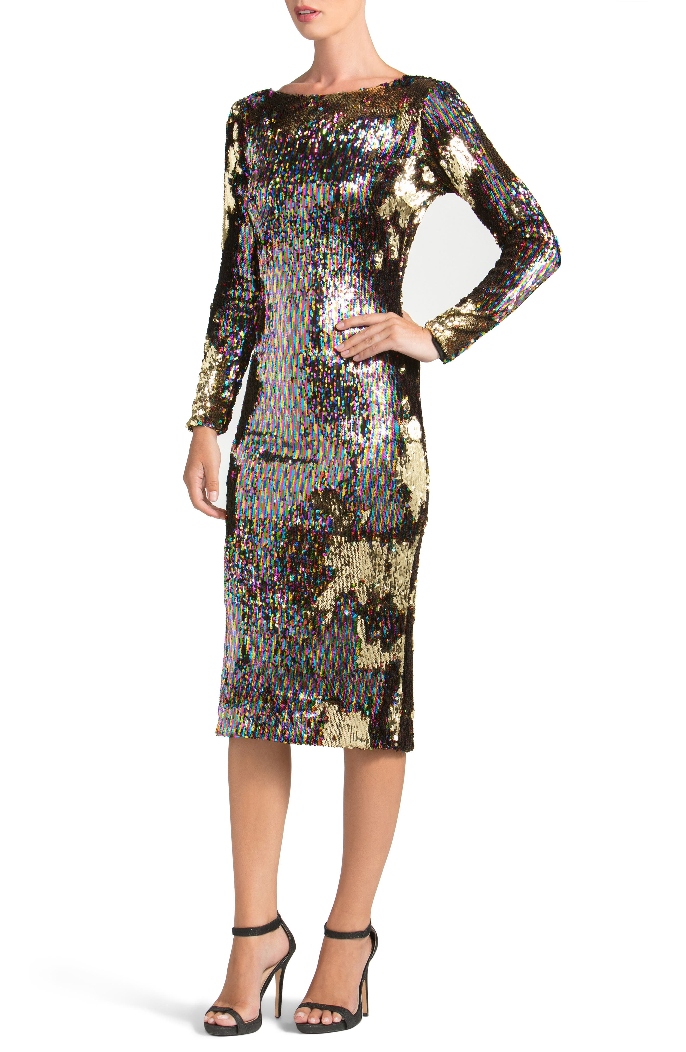 Emery Scoop Back Reversible Sequin Body-Con Dress,                             Main thumbnail 1, color,                             Multi/ Gold