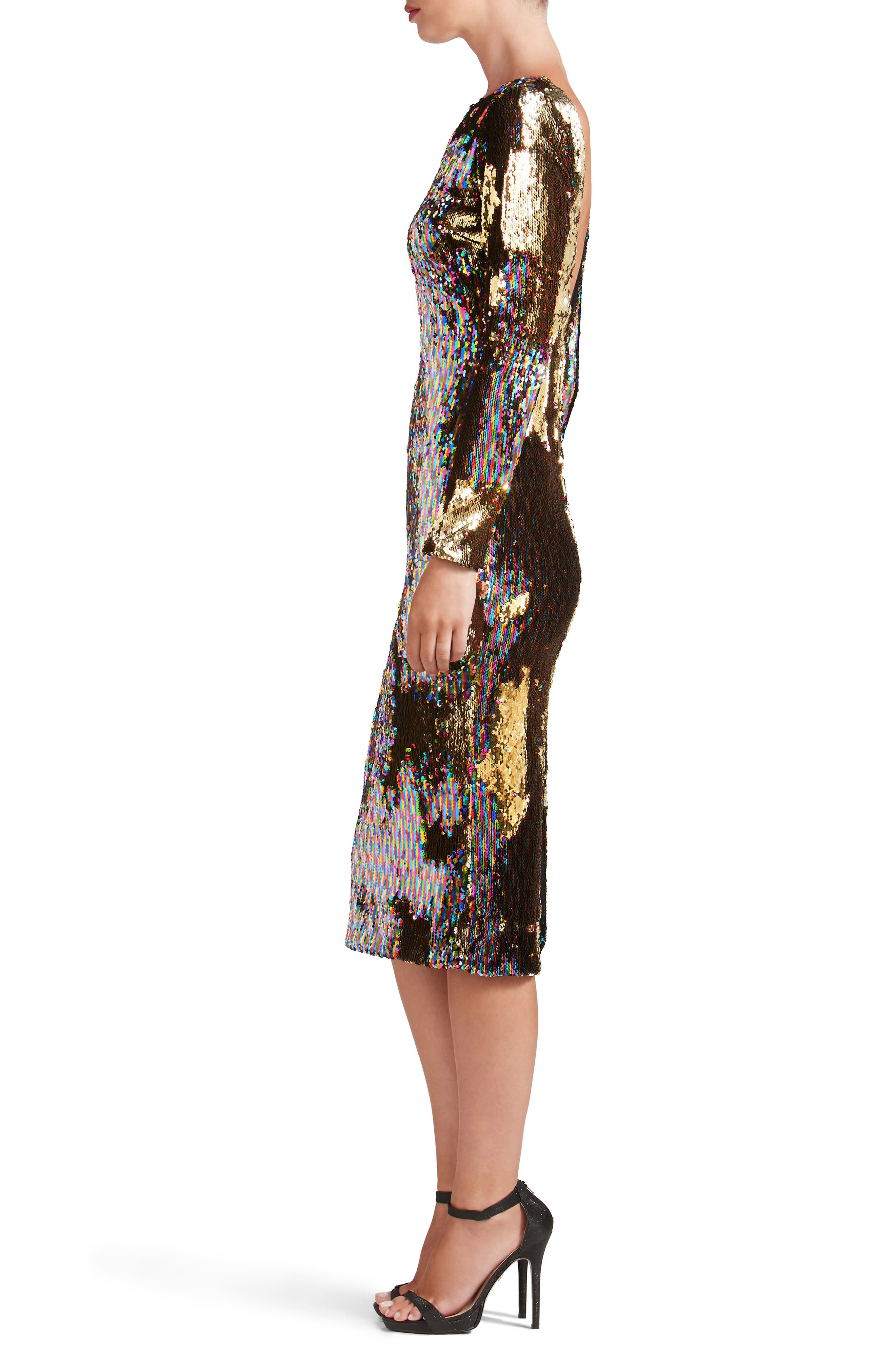 Emery Scoop Back Reversible Sequin Body-Con Dress,                             Alternate thumbnail 3, color,                             Multi/ Gold