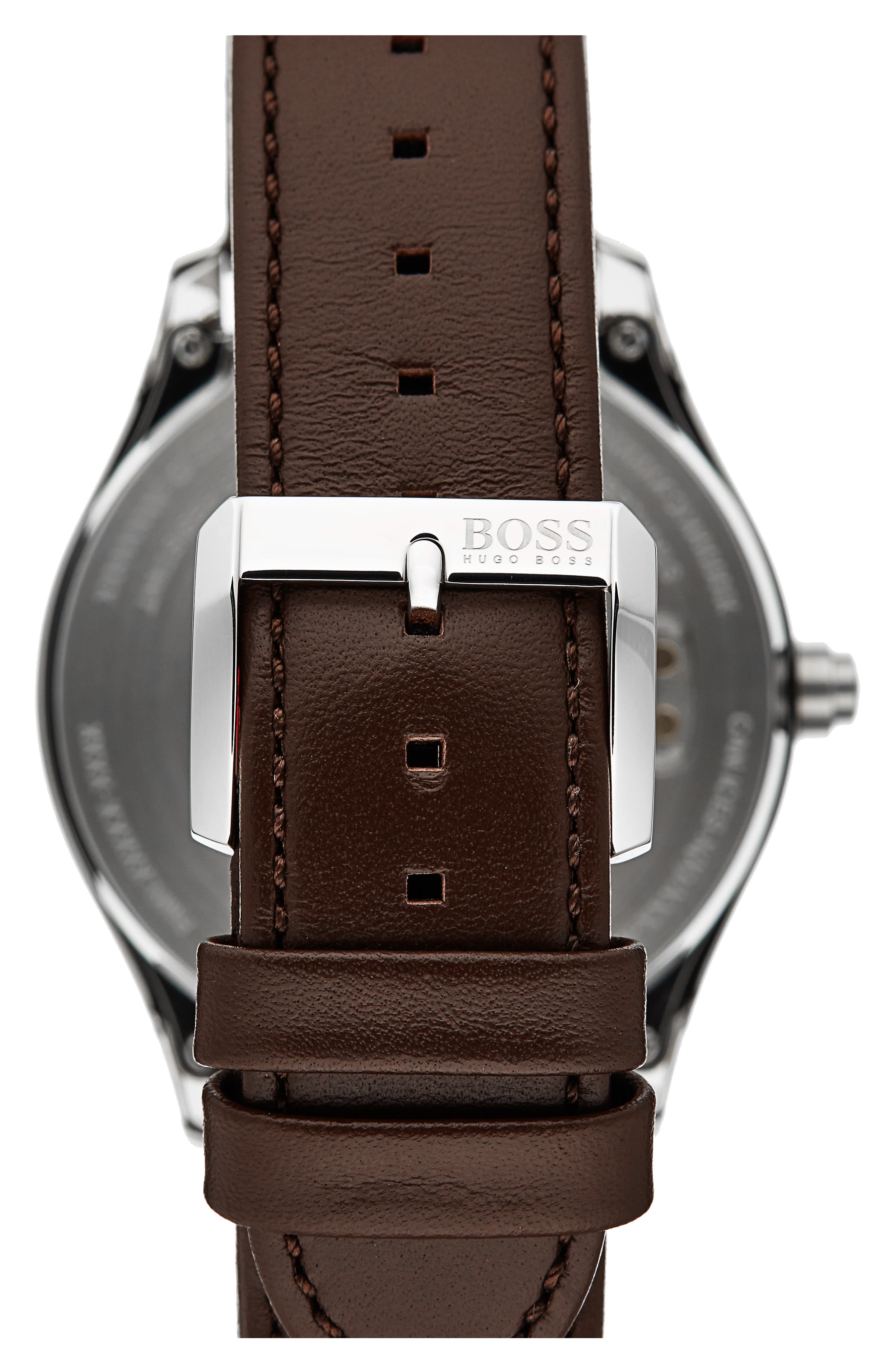 Alternate Image 3  - BOSS Touch Leather Strap Smart Watch Set