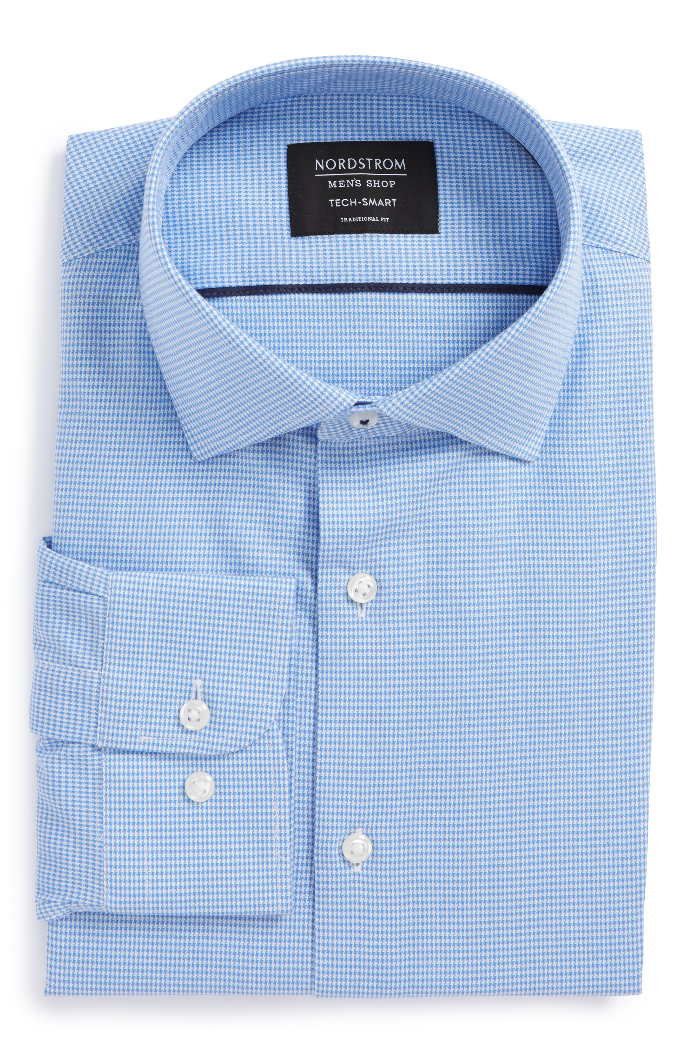 Tech-Smart Traditional Fit Stretch Houndstooth Dress Shirt,                             Alternate thumbnail 4, color,                             Blue Provence