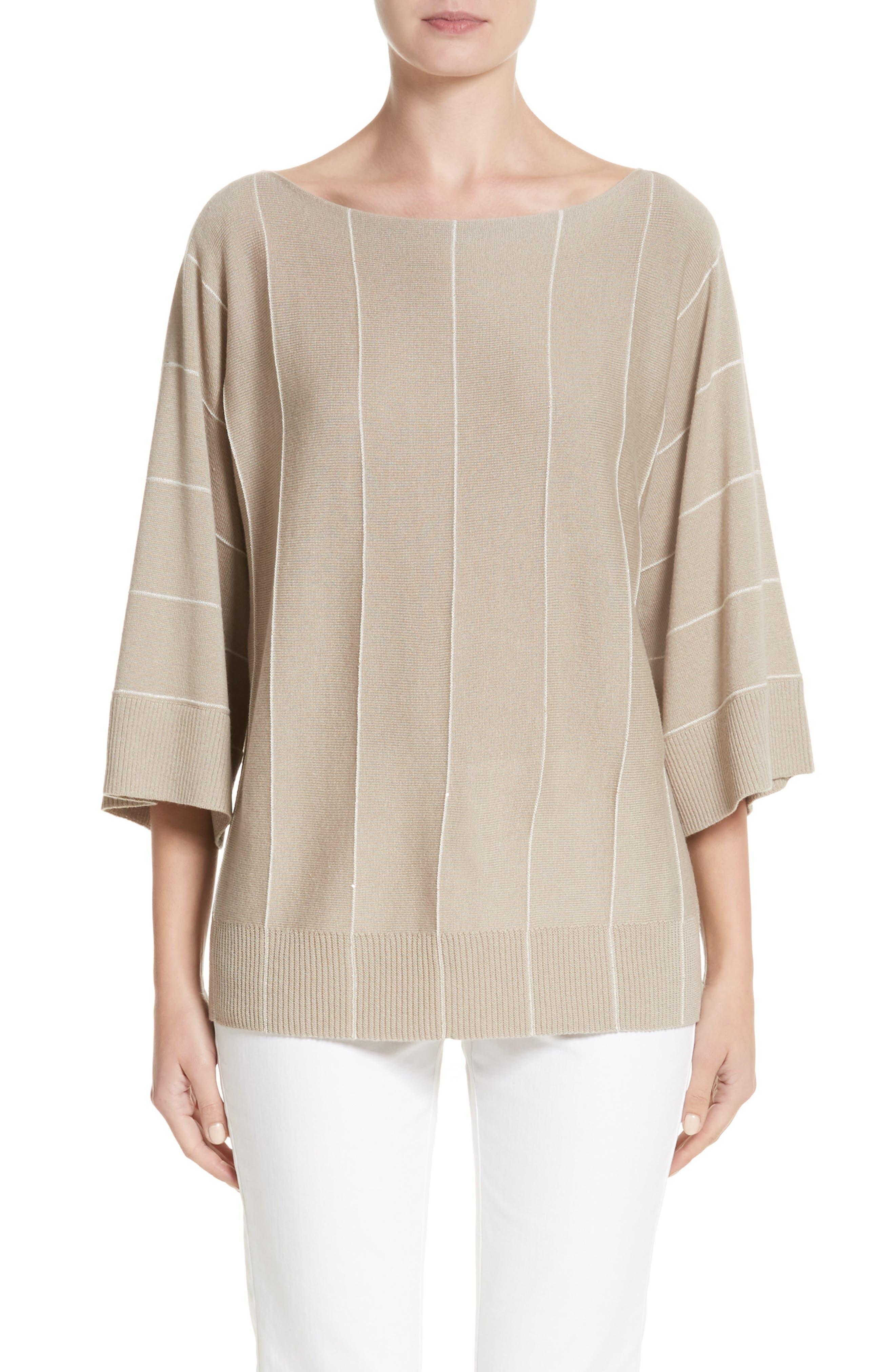 Sequin Knit Cashmere & Silk Pullover,                             Main thumbnail 1, color,                             Khaki Multi