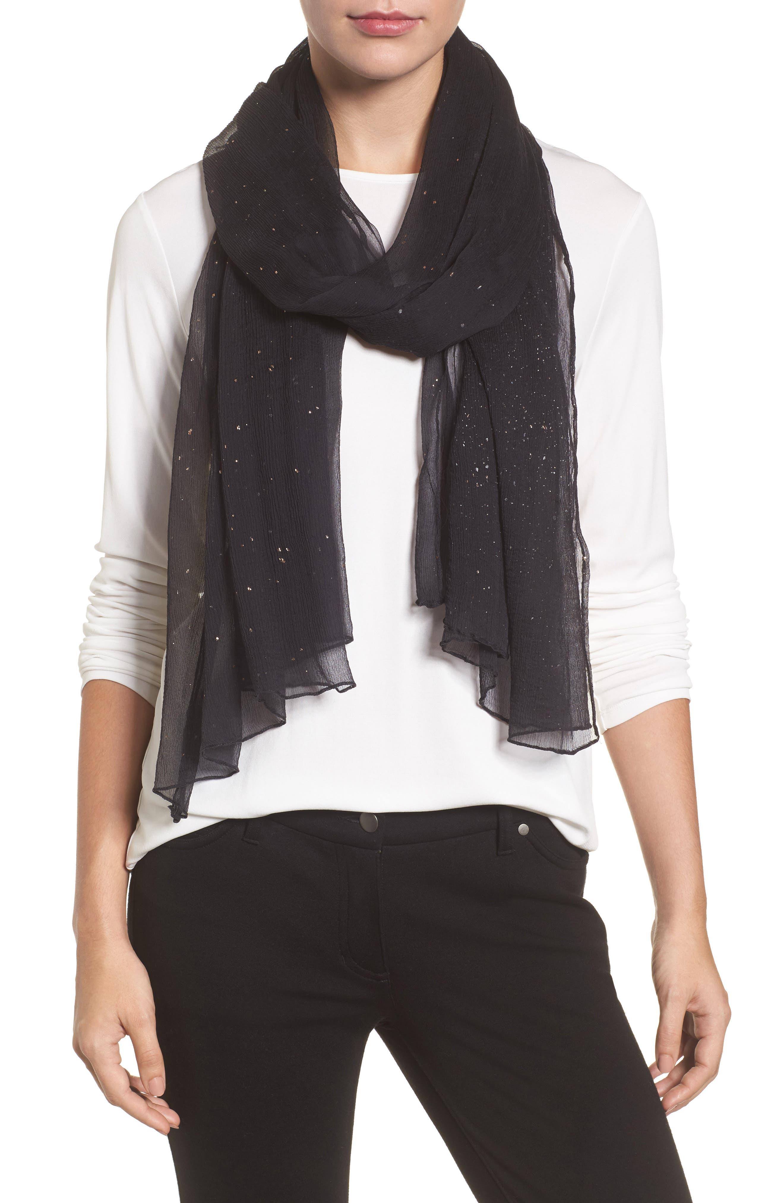 Metallic Fleck Silk Scarf,                         Main,                         color, Black