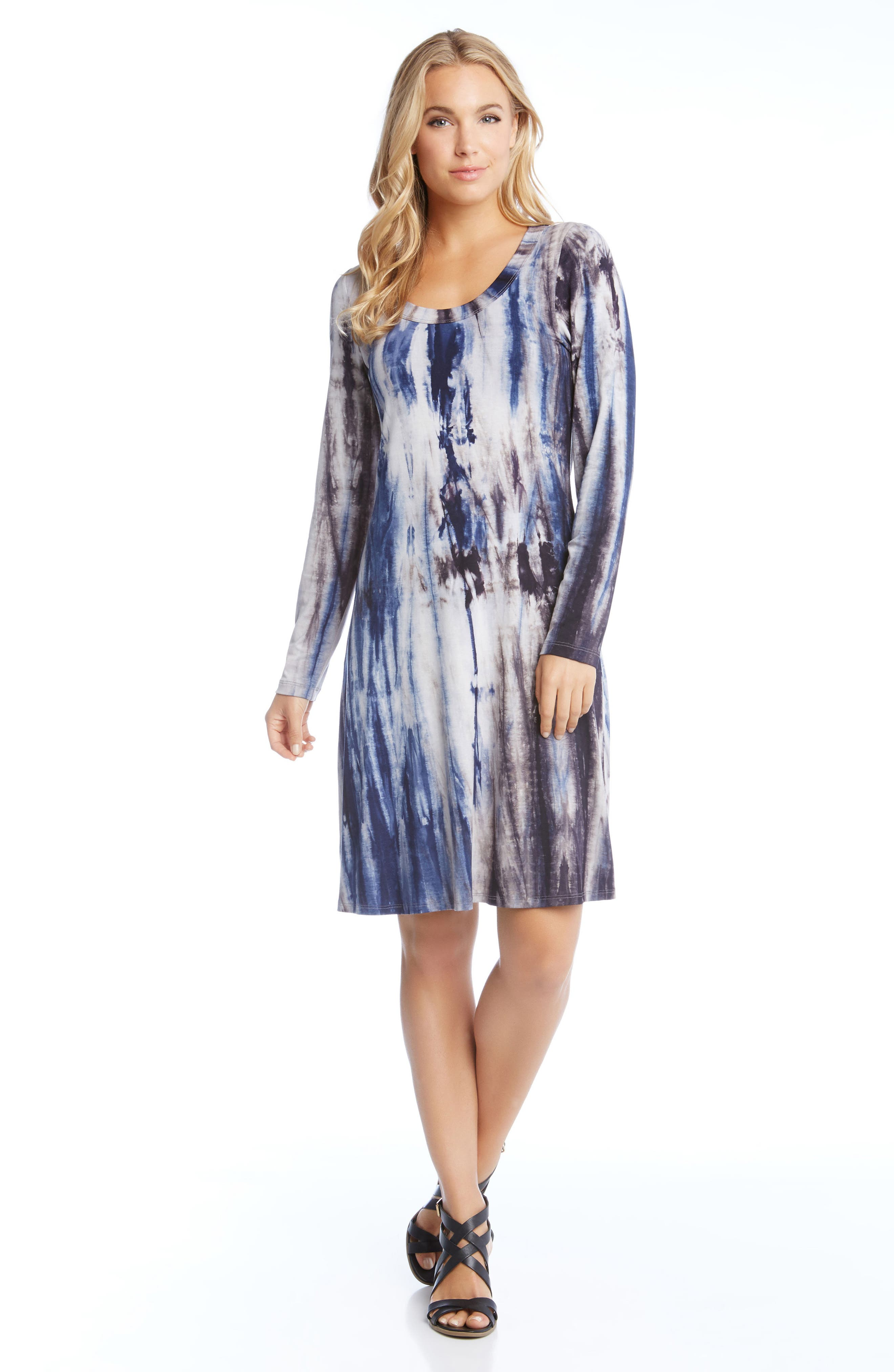 Scooped Neck A-Line Dress,                             Alternate thumbnail 2, color,                             Tie-Dye