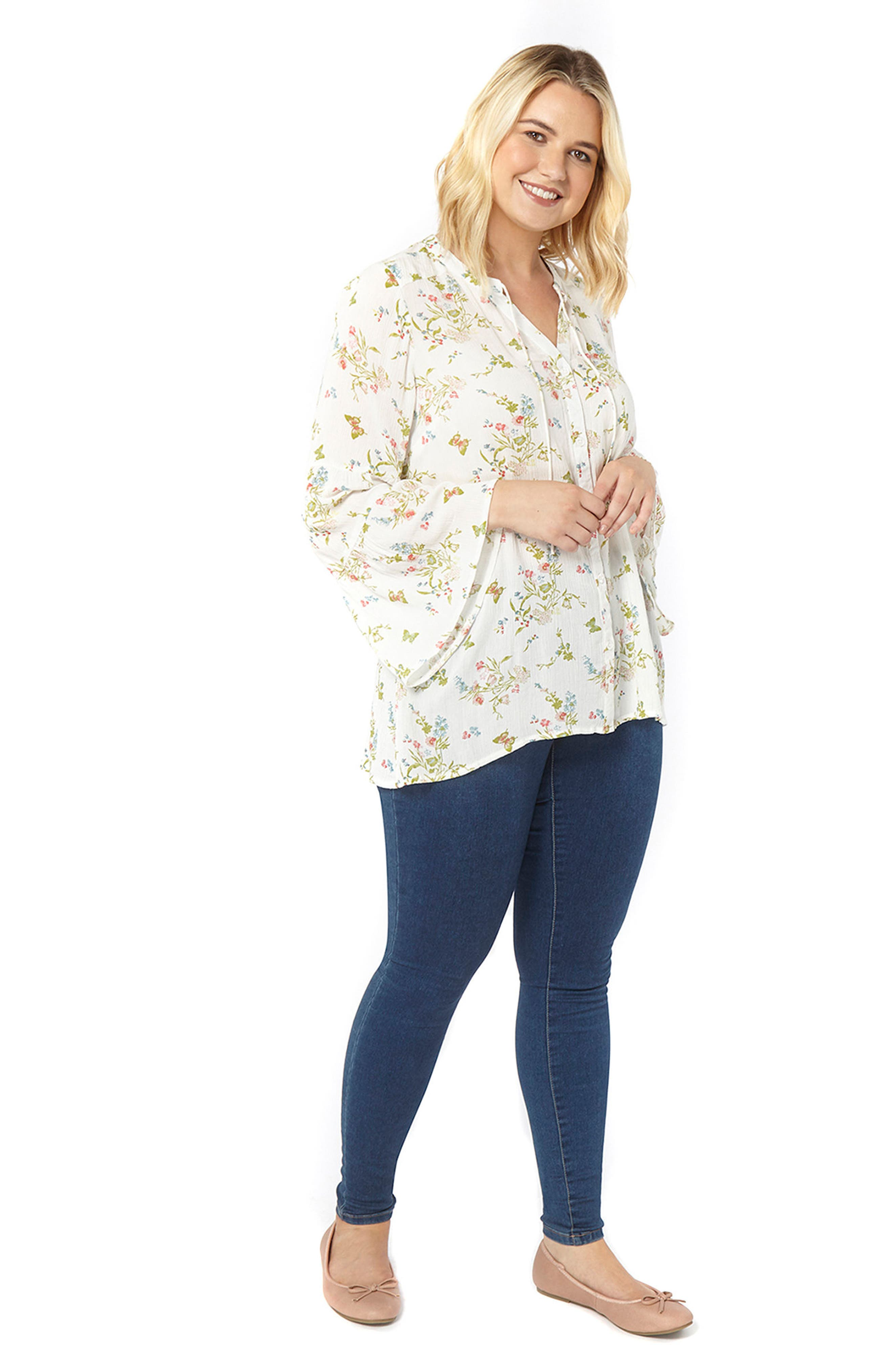 Bell Sleeve Floral Blouse,                             Alternate thumbnail 3, color,                             Ivory