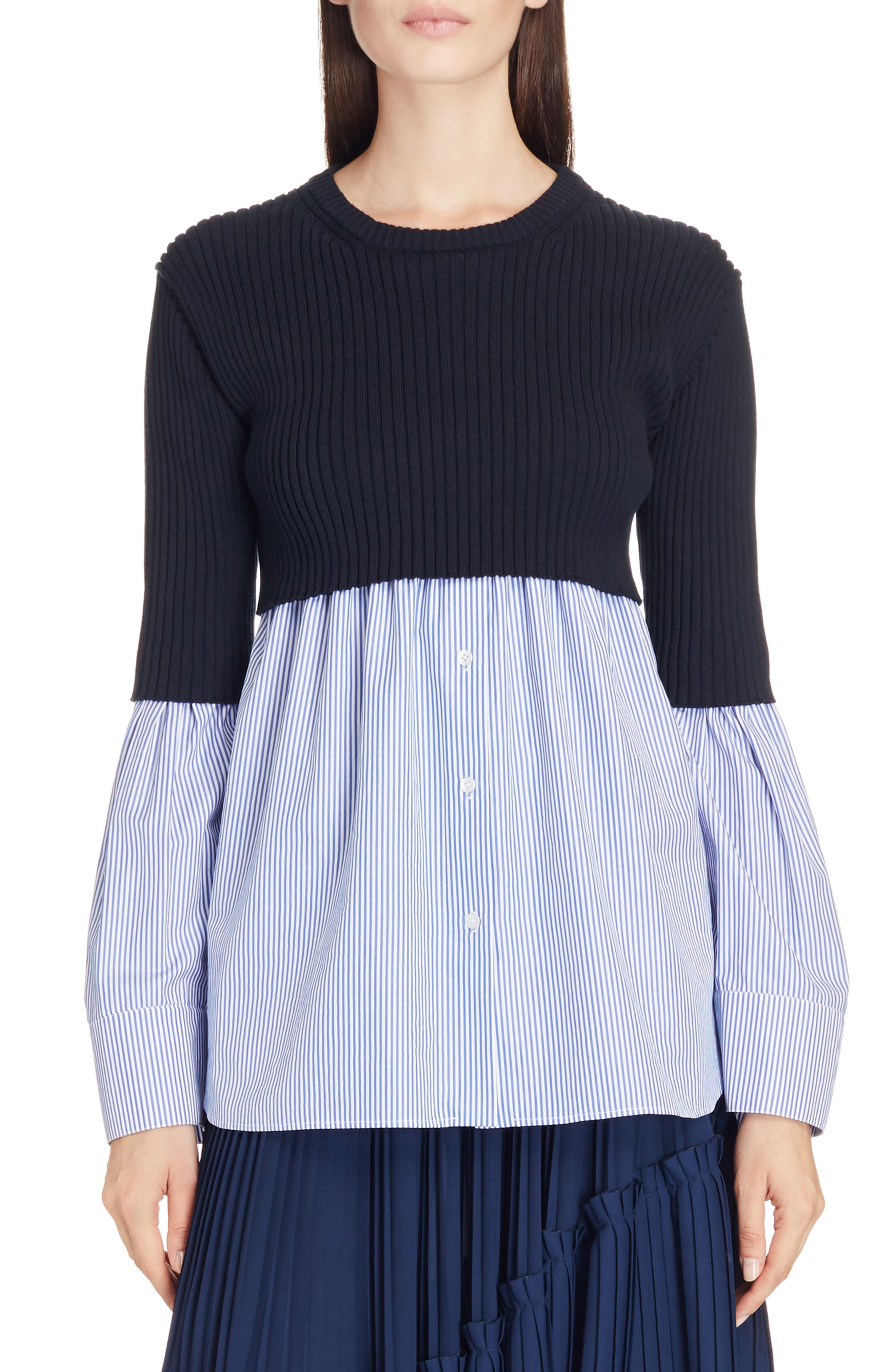 Knit Overlay Cotton Blouse,                         Main,                         color, Periwinkle