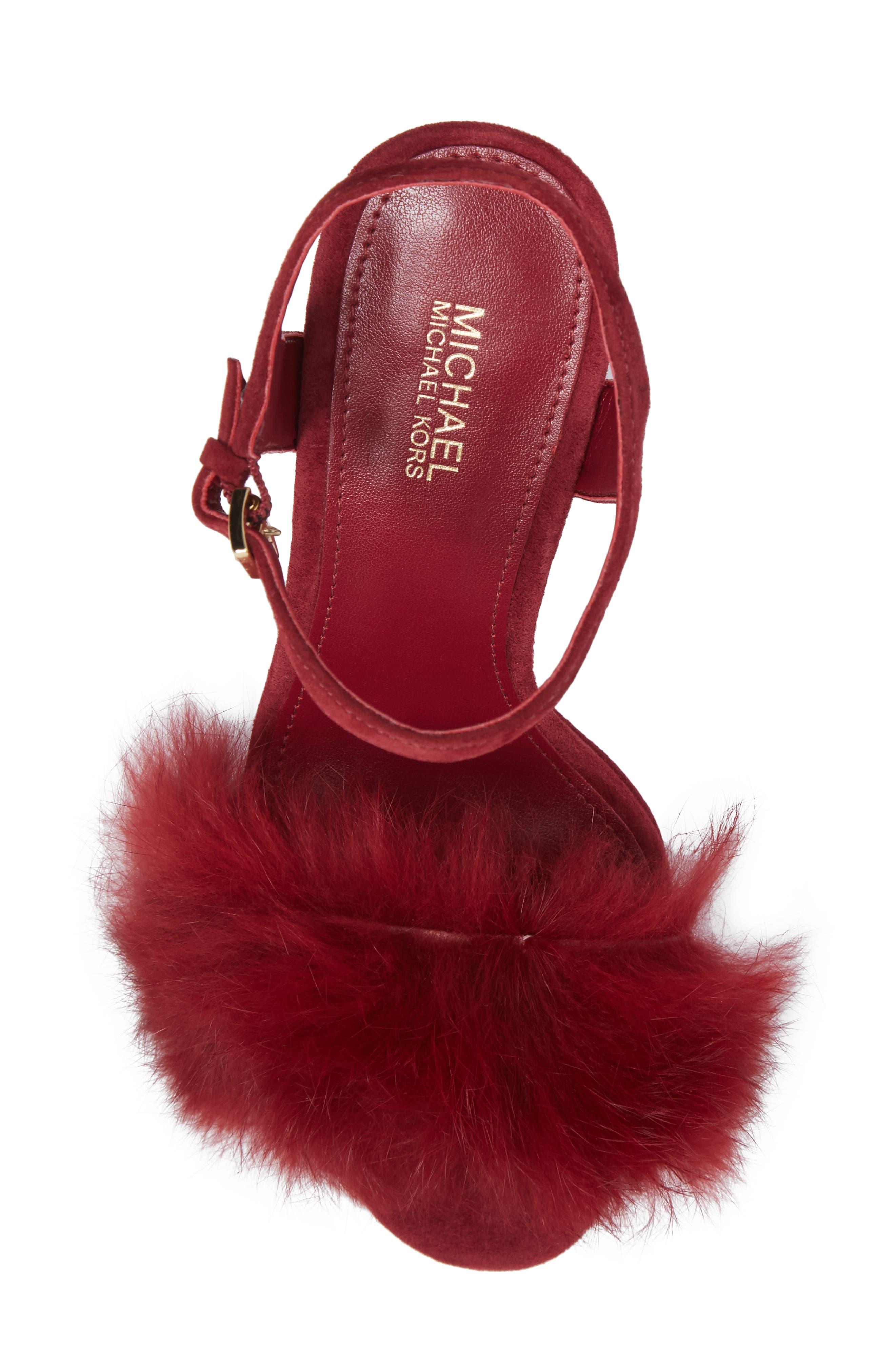 Faye Genuine Rabbit Fur Sandal,                             Alternate thumbnail 5, color,                             Mulberry Suede/ Fur
