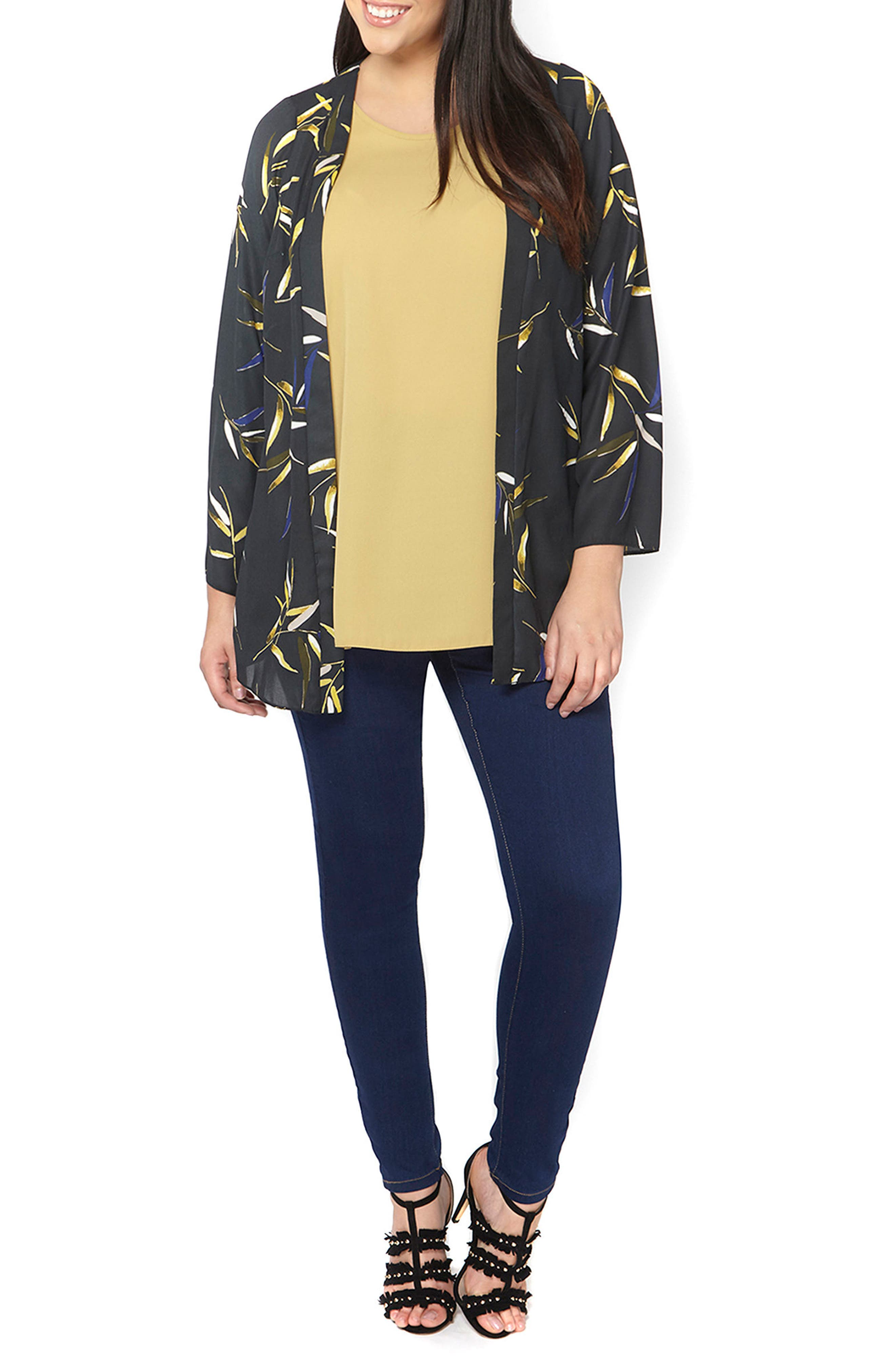 Alternate Image 4  - Evans Foiled Leaf Print Kimono Jacket (Plus Size)