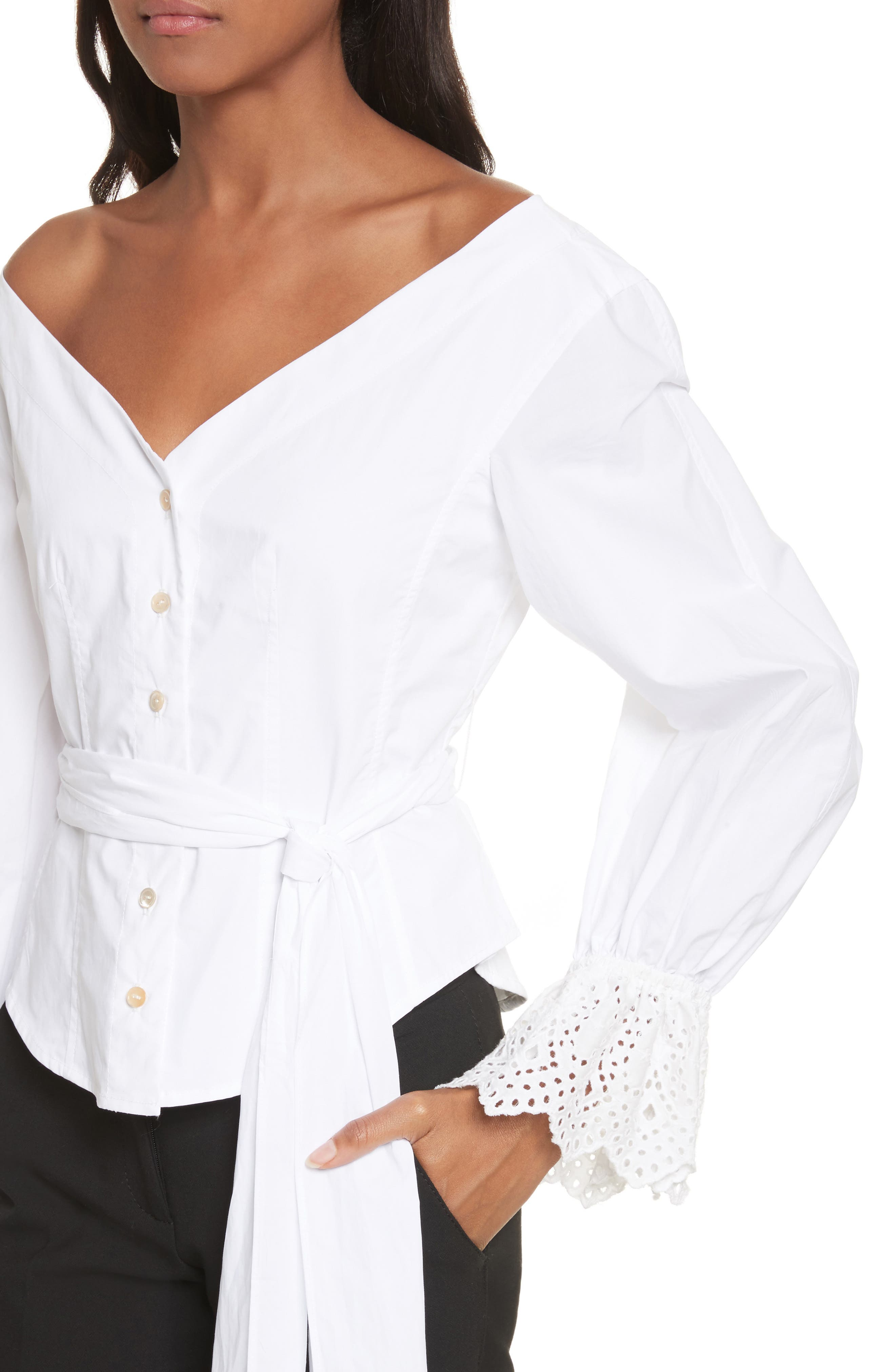 Eyelet Sleeve Poplin Top,                             Alternate thumbnail 5, color,                             Milk