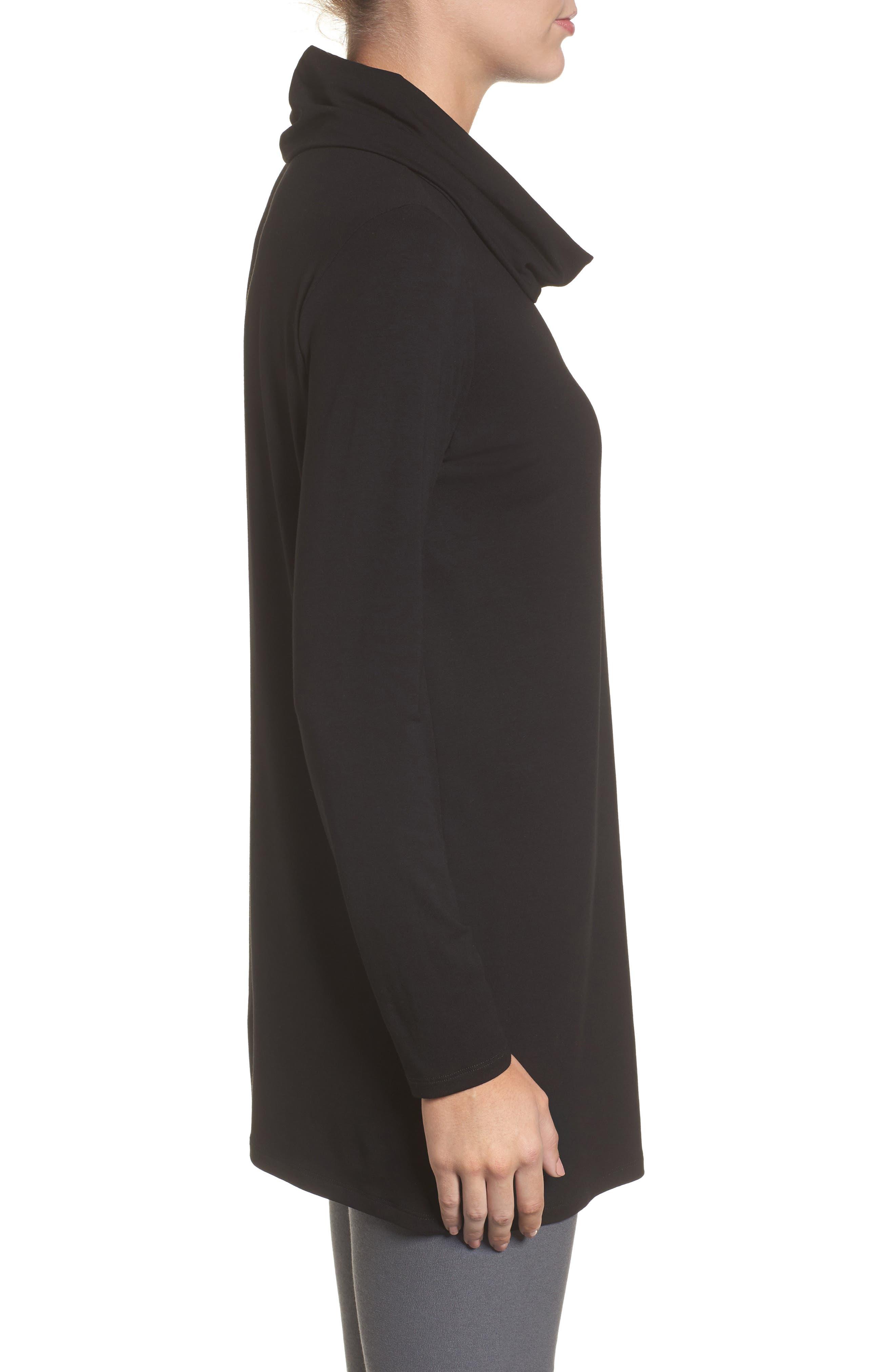 Drape Neck Jersey Top,                             Alternate thumbnail 3, color,                             Black
