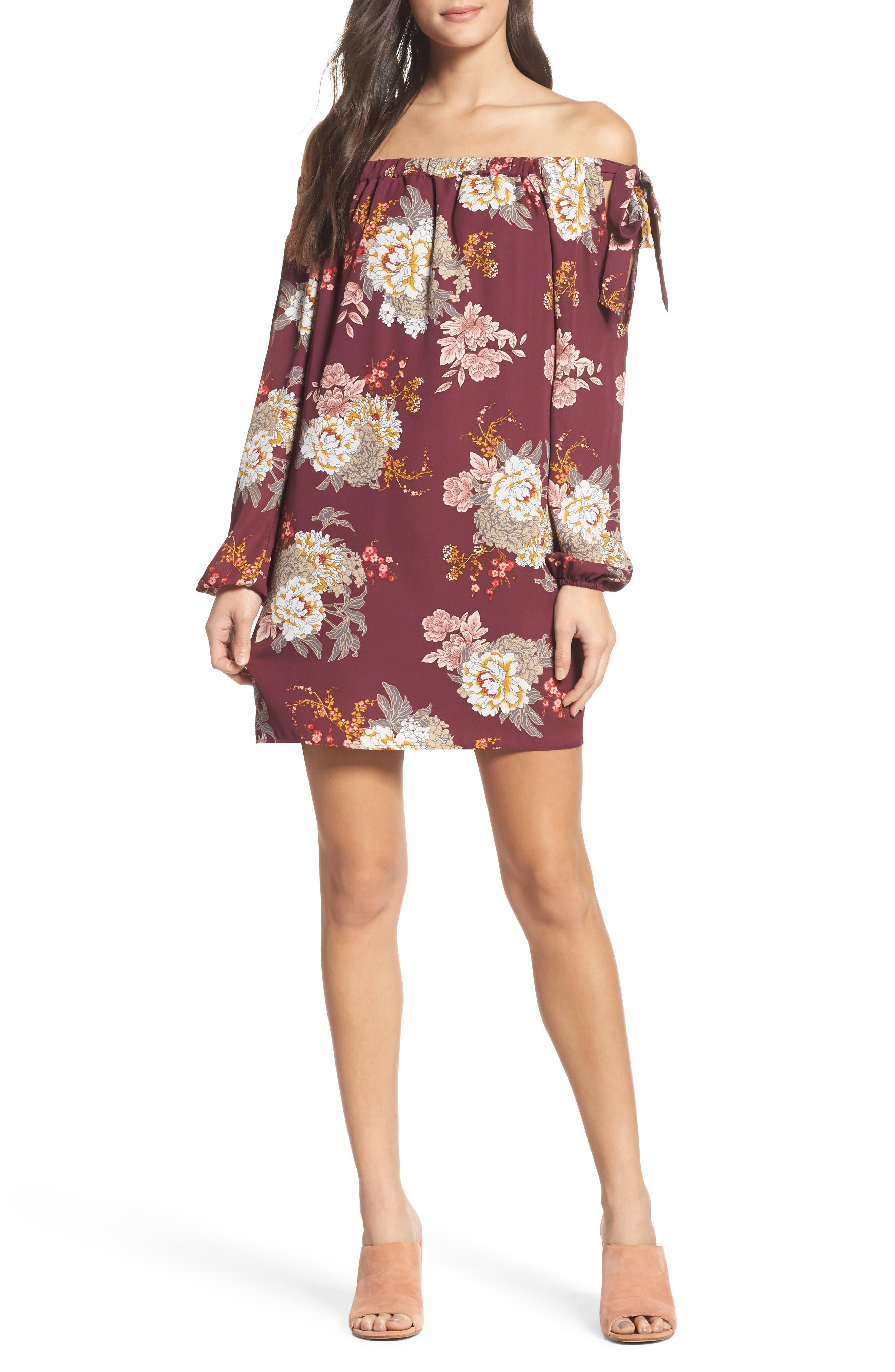 Jade Off the Shoulder Dress,                         Main,                         color, Wine Floral