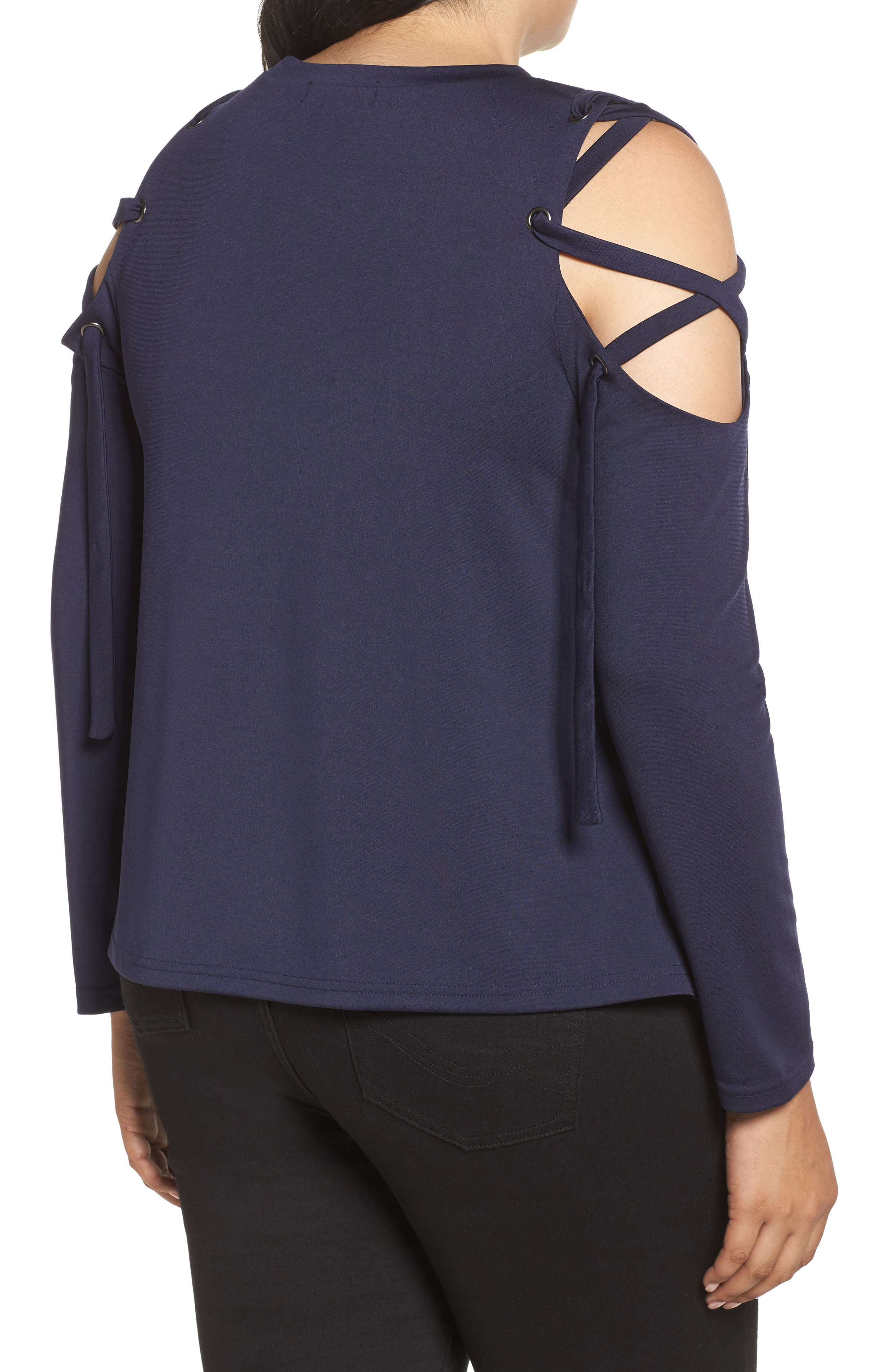 Eyelet Lace-Up Sleeve Top,                             Alternate thumbnail 2, color,                             Navy