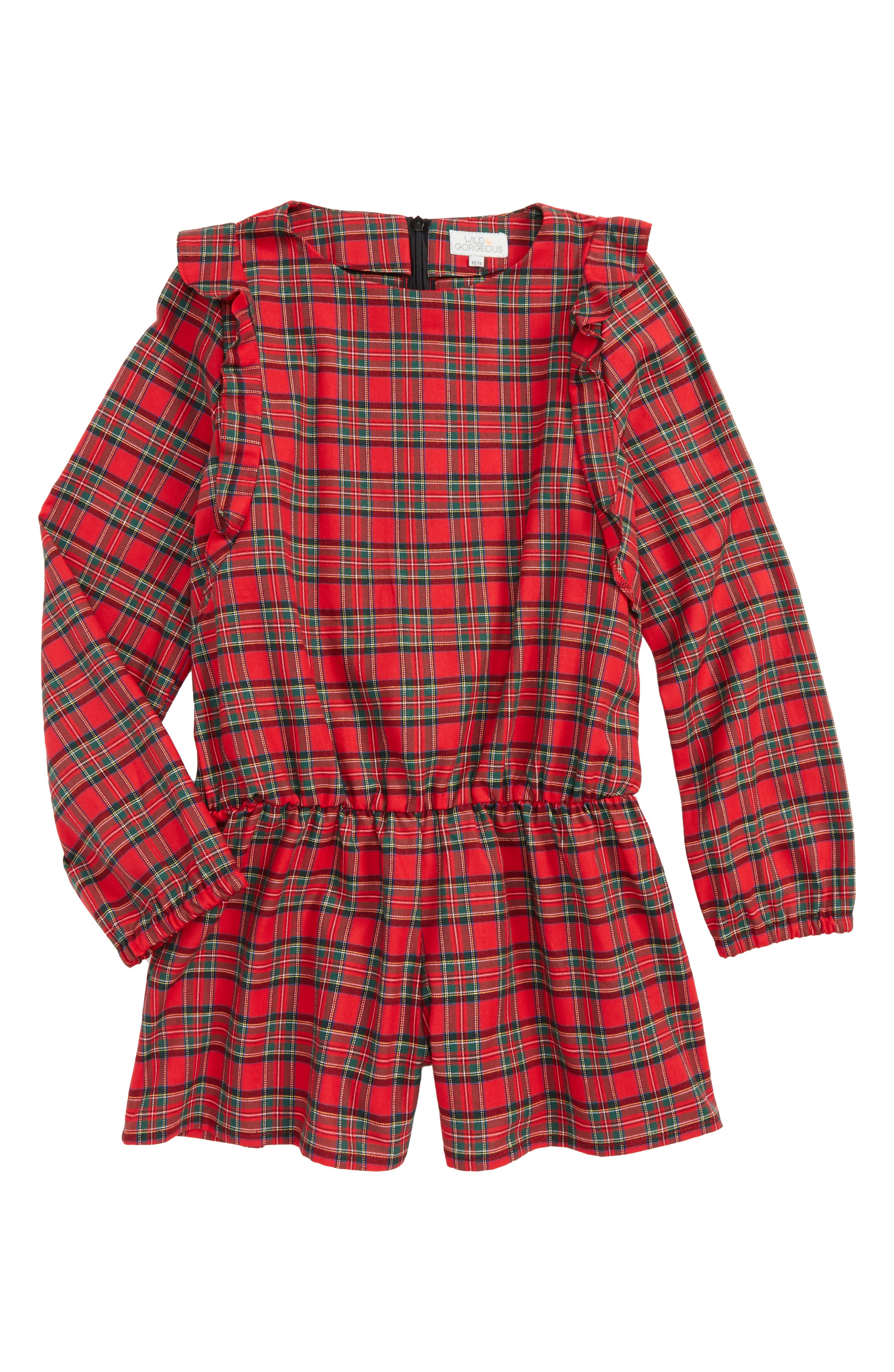 Pam Plaid Romper,                         Main,                         color, Red