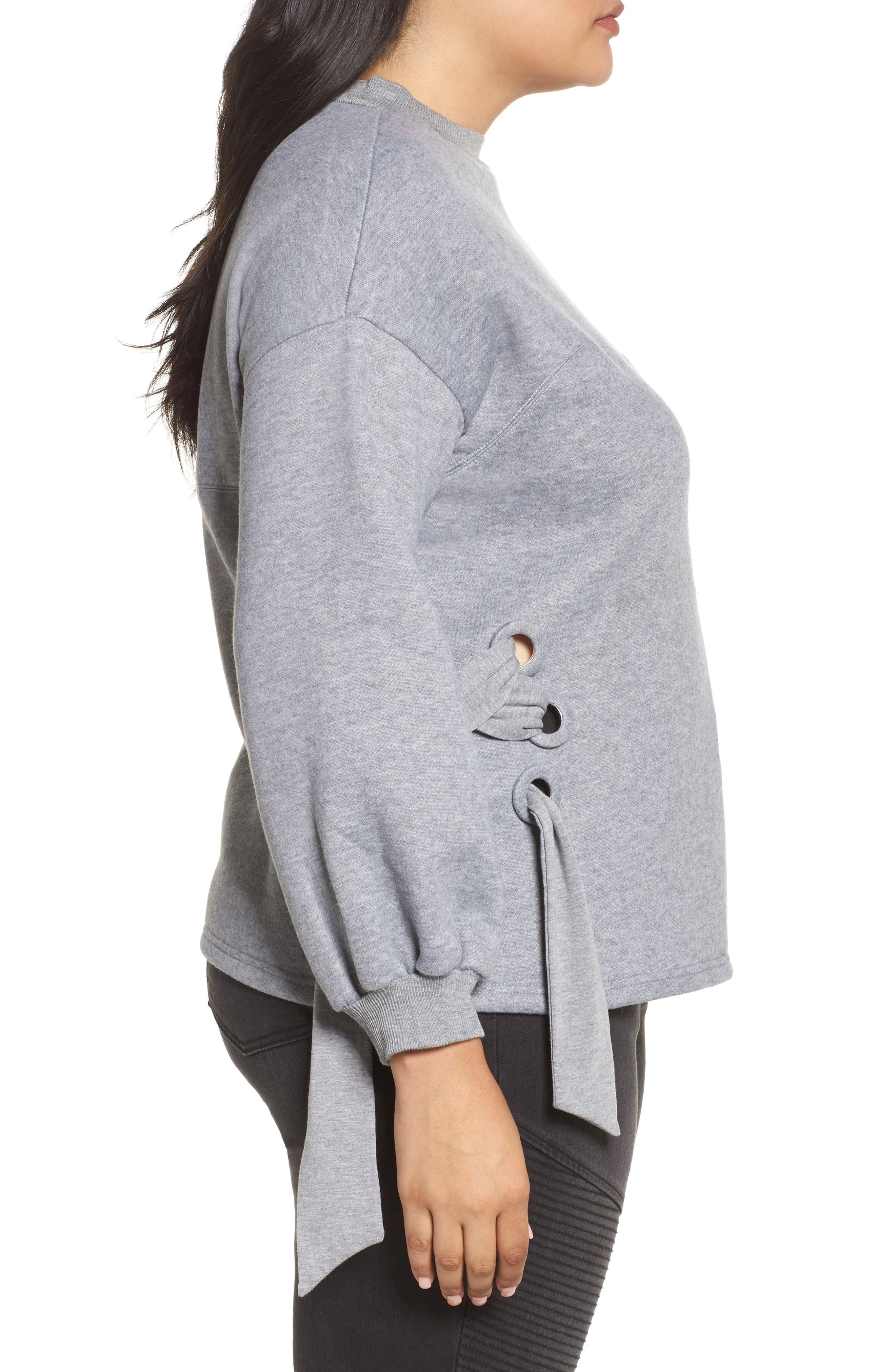 Side Tie Sweatshirt,                             Alternate thumbnail 3, color,                             Grey