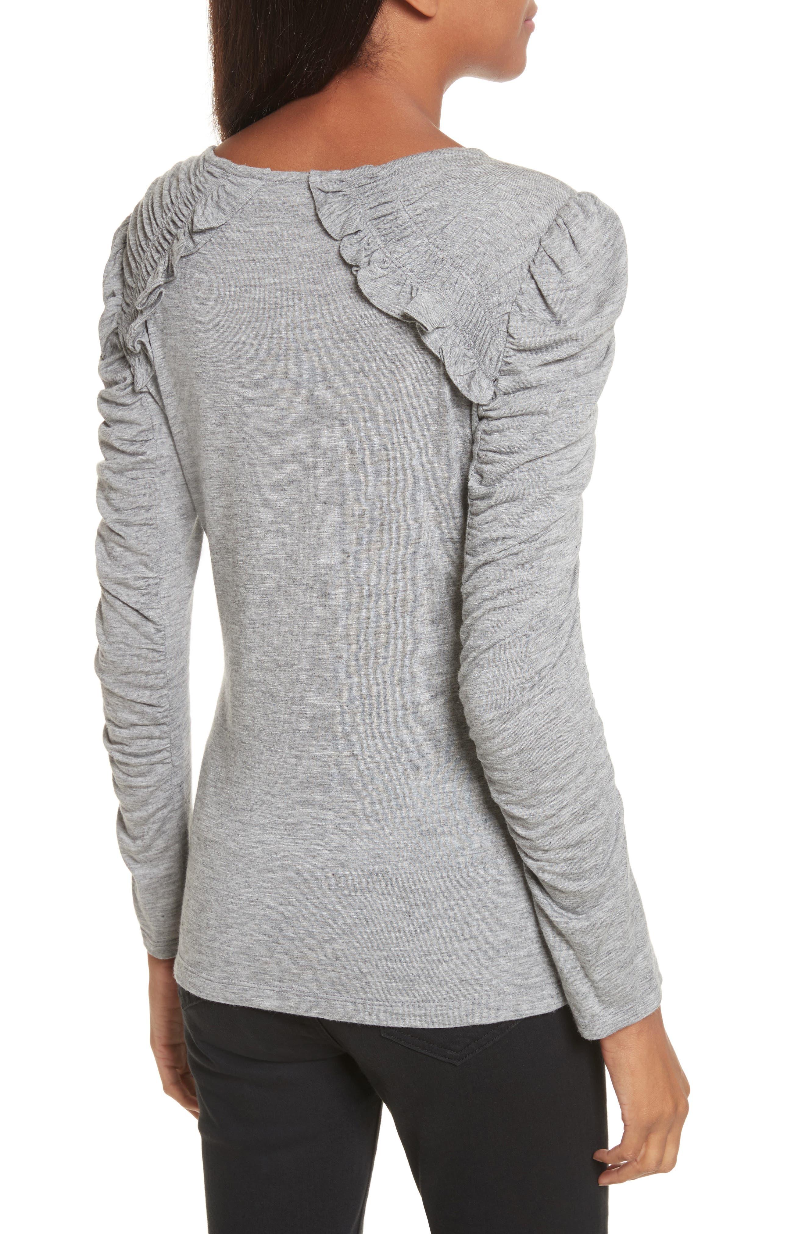 Ruffled Jersey Top,                             Alternate thumbnail 2, color,                             Grey Melange