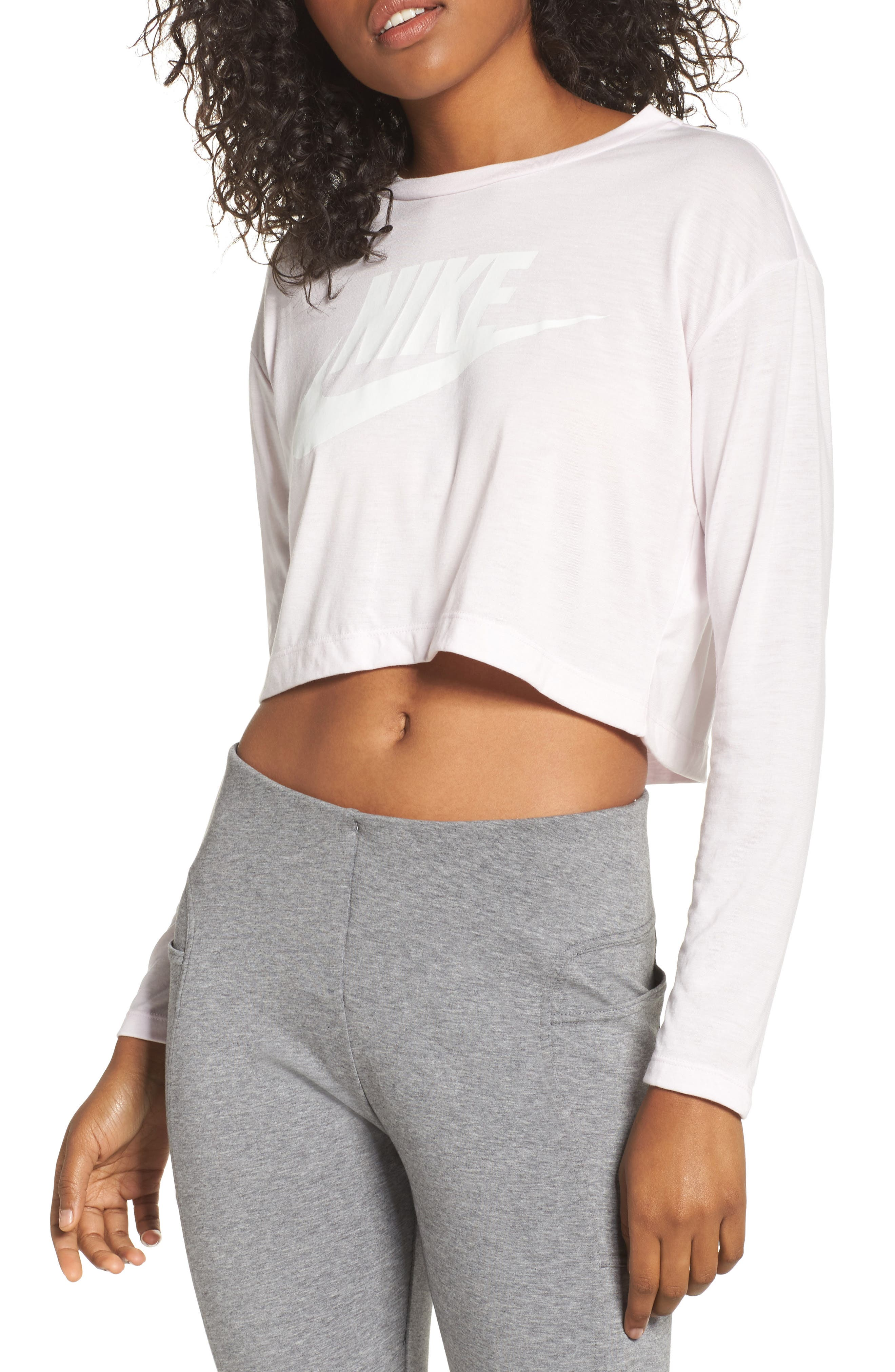 Sportswear Graphic Crop Tee,                             Main thumbnail 1, color,                             Pearl Pink/ Pearl Pink/ Sail