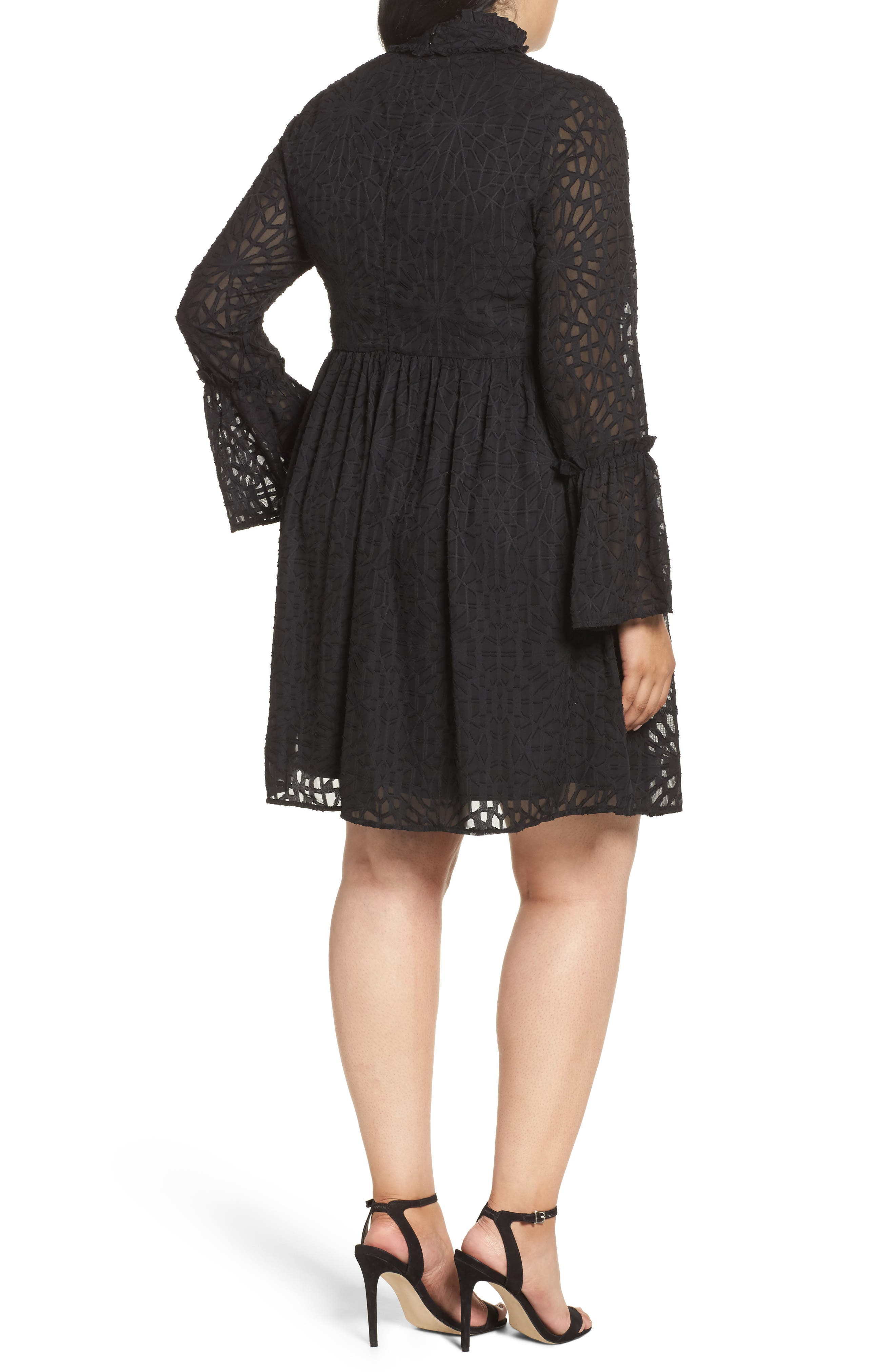 Geo Lace Fit & Flare Dress,                             Alternate thumbnail 3, color,                             Black