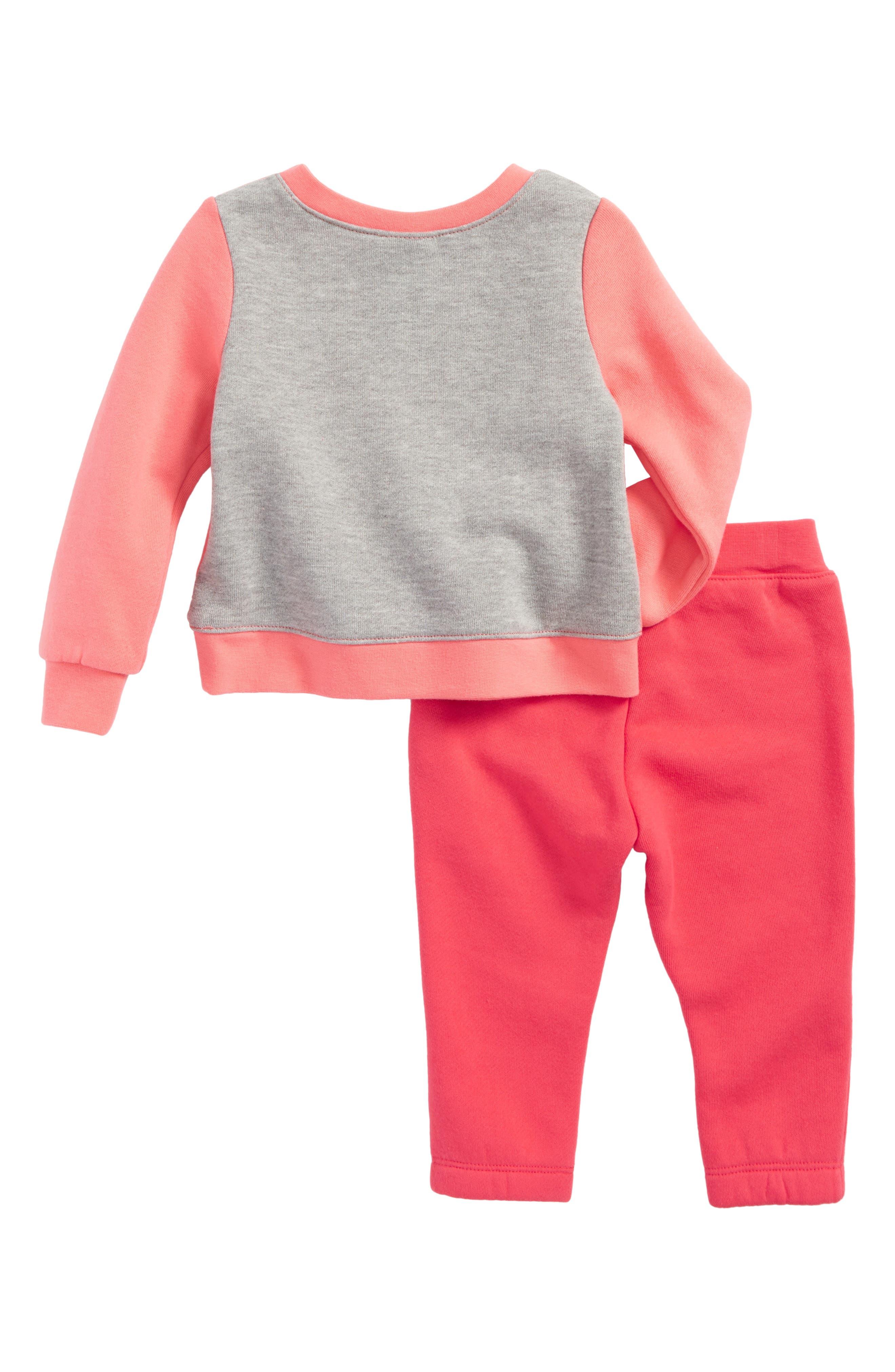 Alternate Image 2  - Nike Fleece Sweatshirt & Sweatpants Set (Baby Girls)