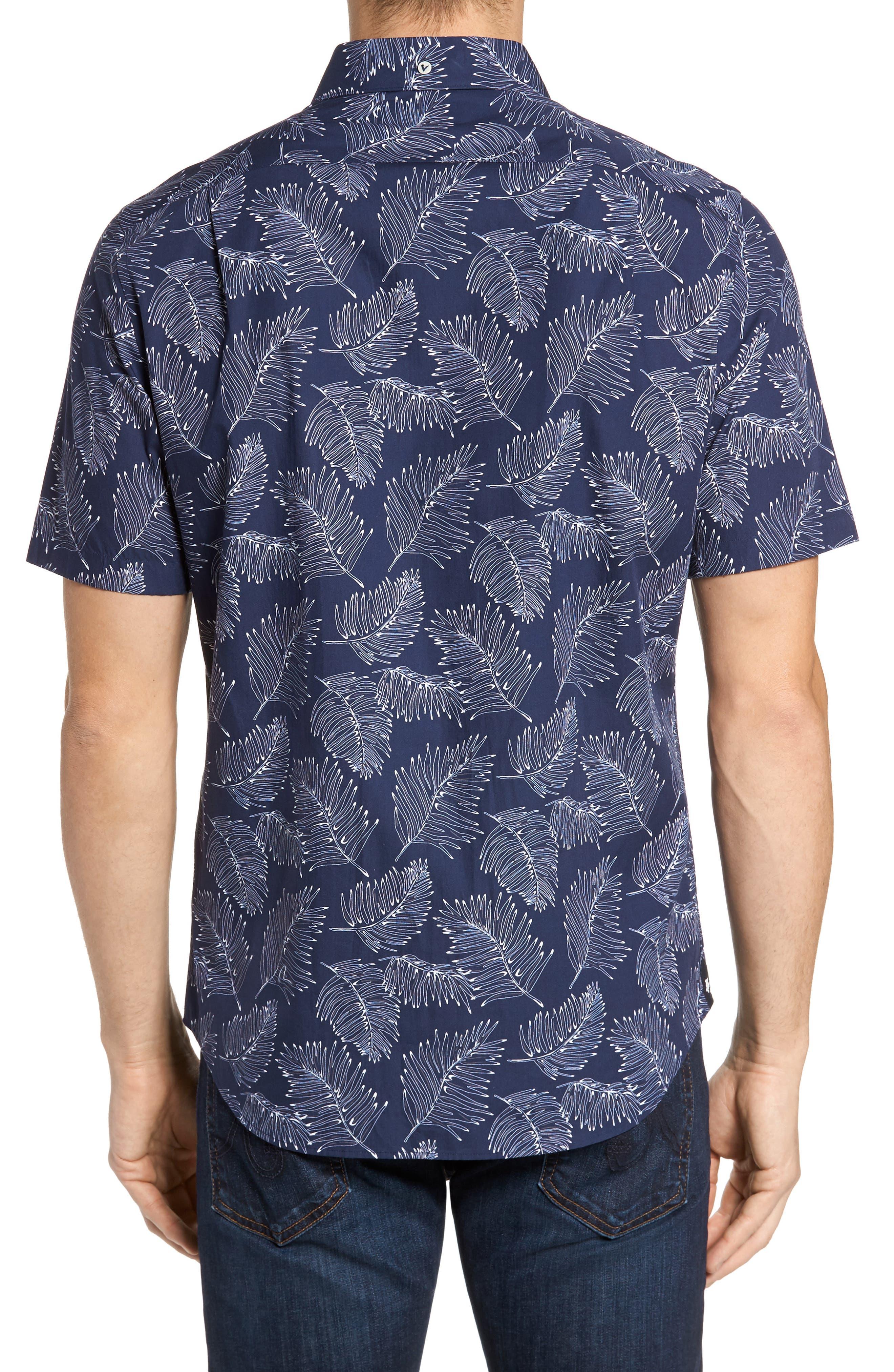 Slim Fit Palm Sport Shirt,                             Alternate thumbnail 3, color,                             V-Blue