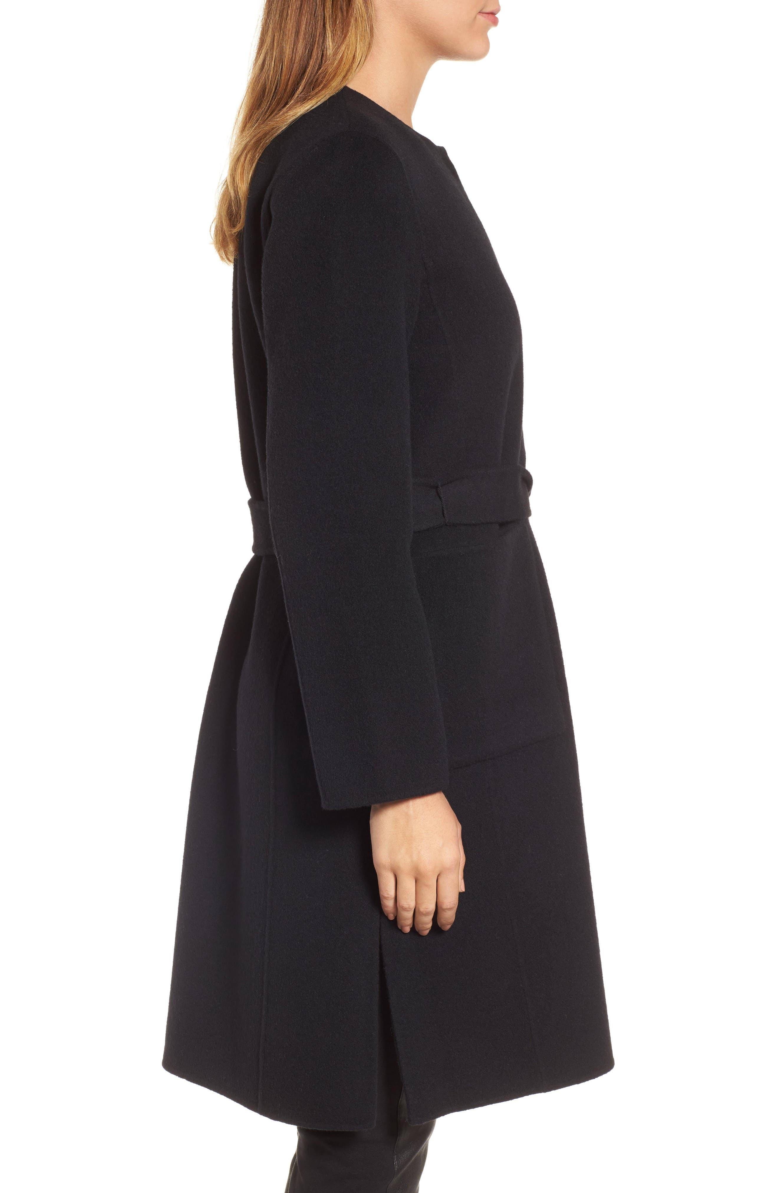 Boiled Wool Blend Wrap Coat,                             Alternate thumbnail 3, color,                             Black