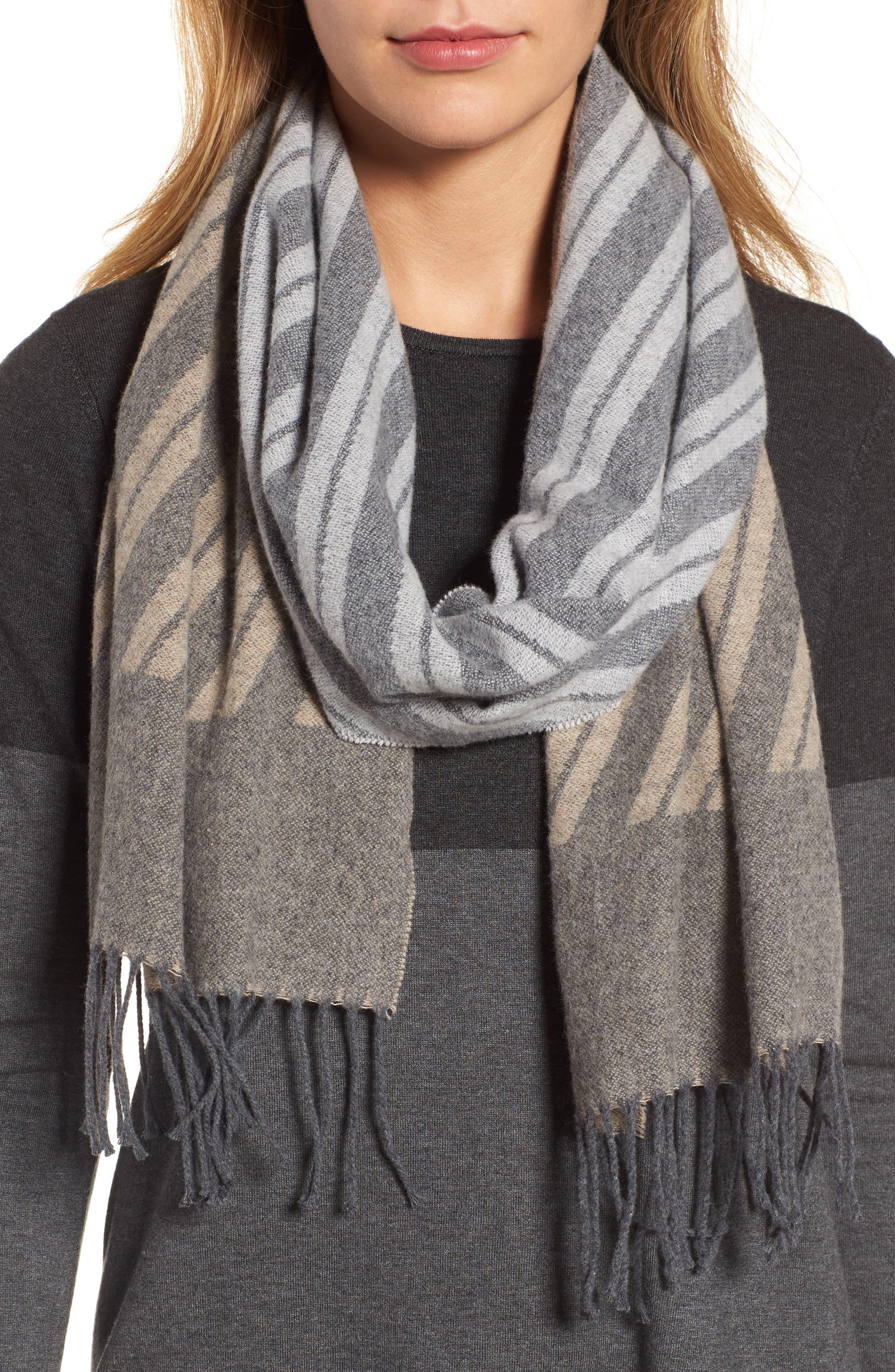 Colorblock Stripe Cotton Scarf,                             Main thumbnail 1, color,                             Maple Oat
