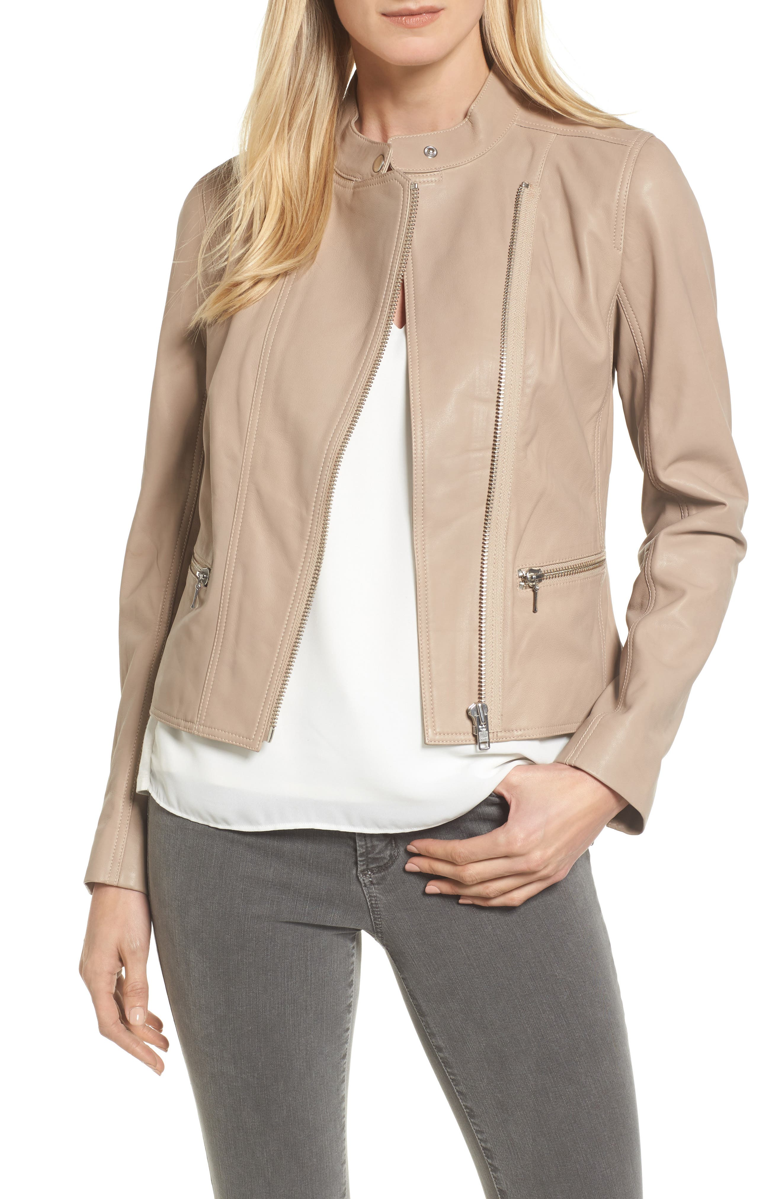 Leather Moto Jacket,                         Main,                         color, Tan
