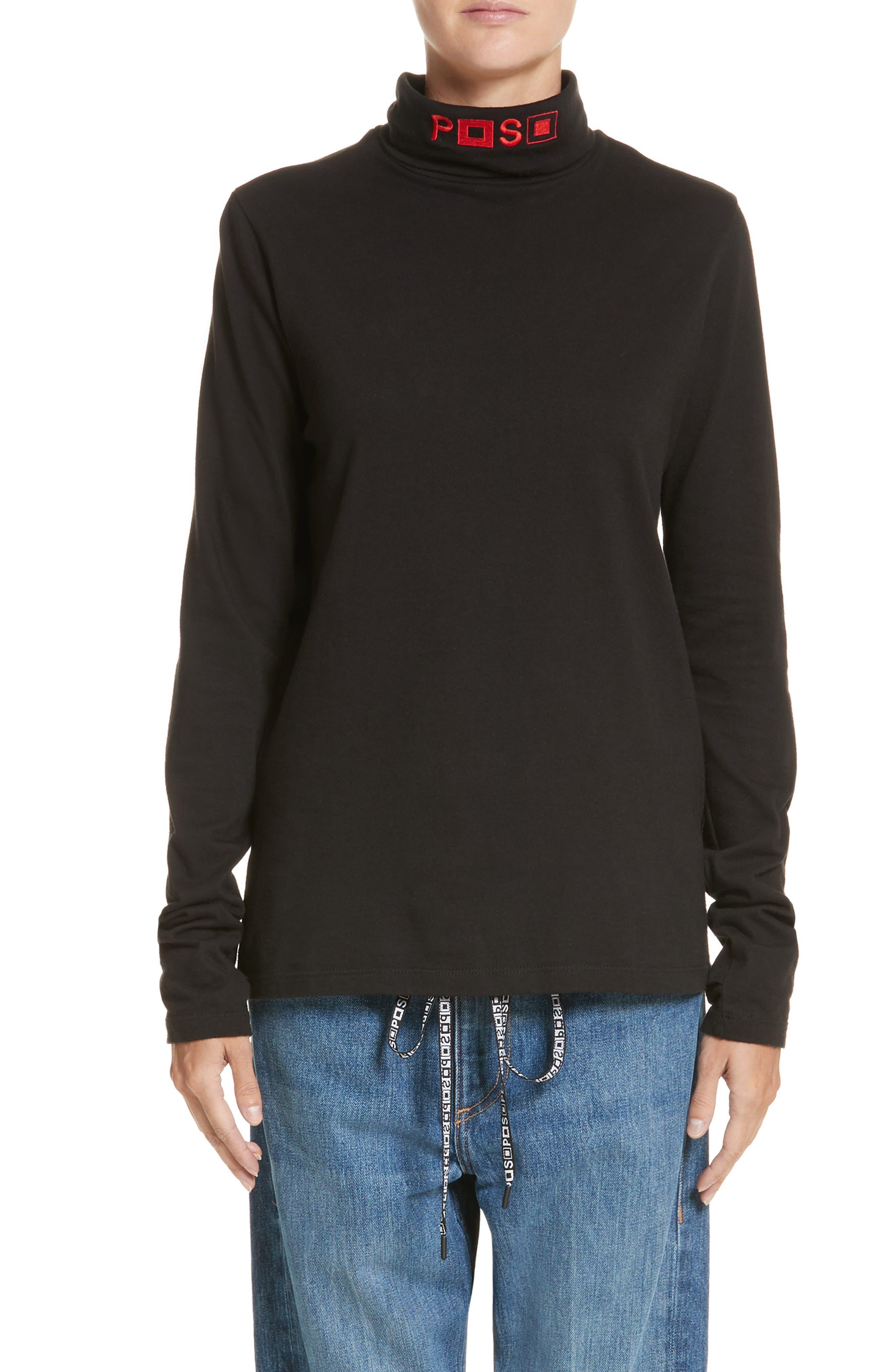 PSWL Embroidered Jersey Turtleneck,                         Main,                         color, Black