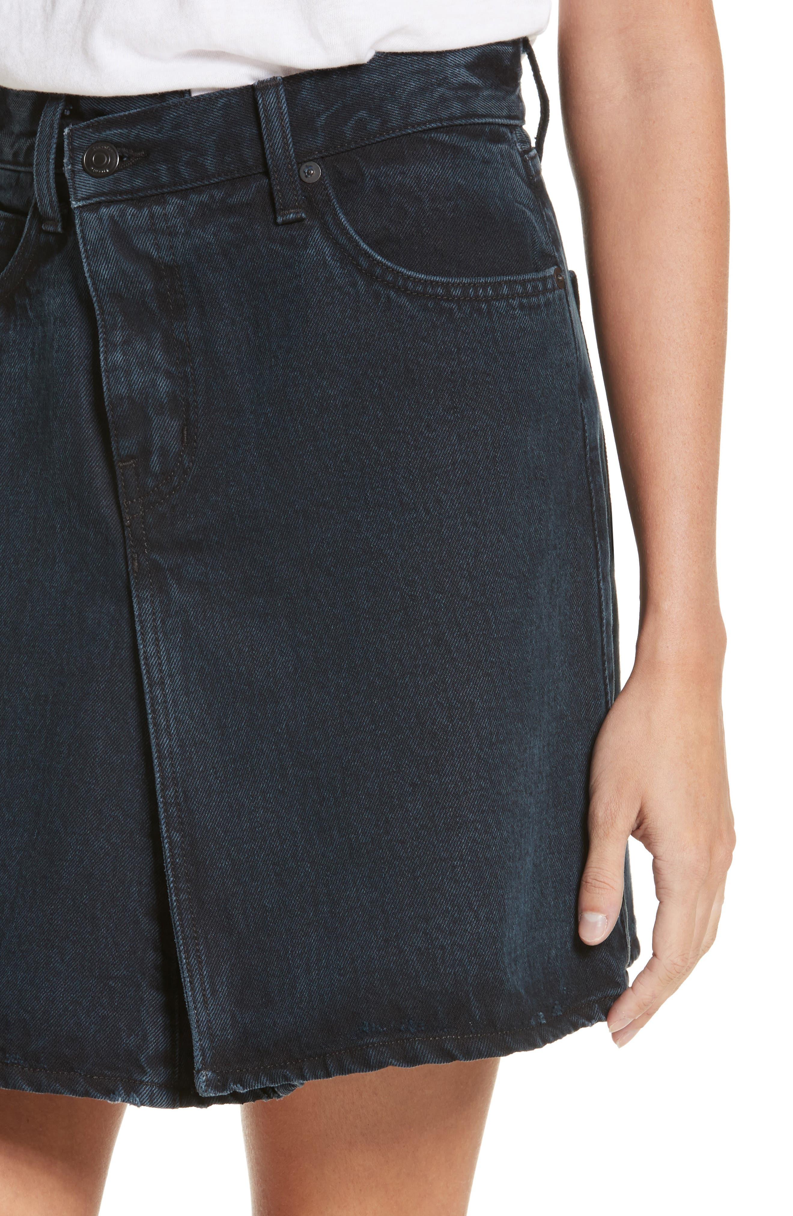 PSWL Folded Denim Skirt,                             Alternate thumbnail 4, color,                             Stone Washed Black