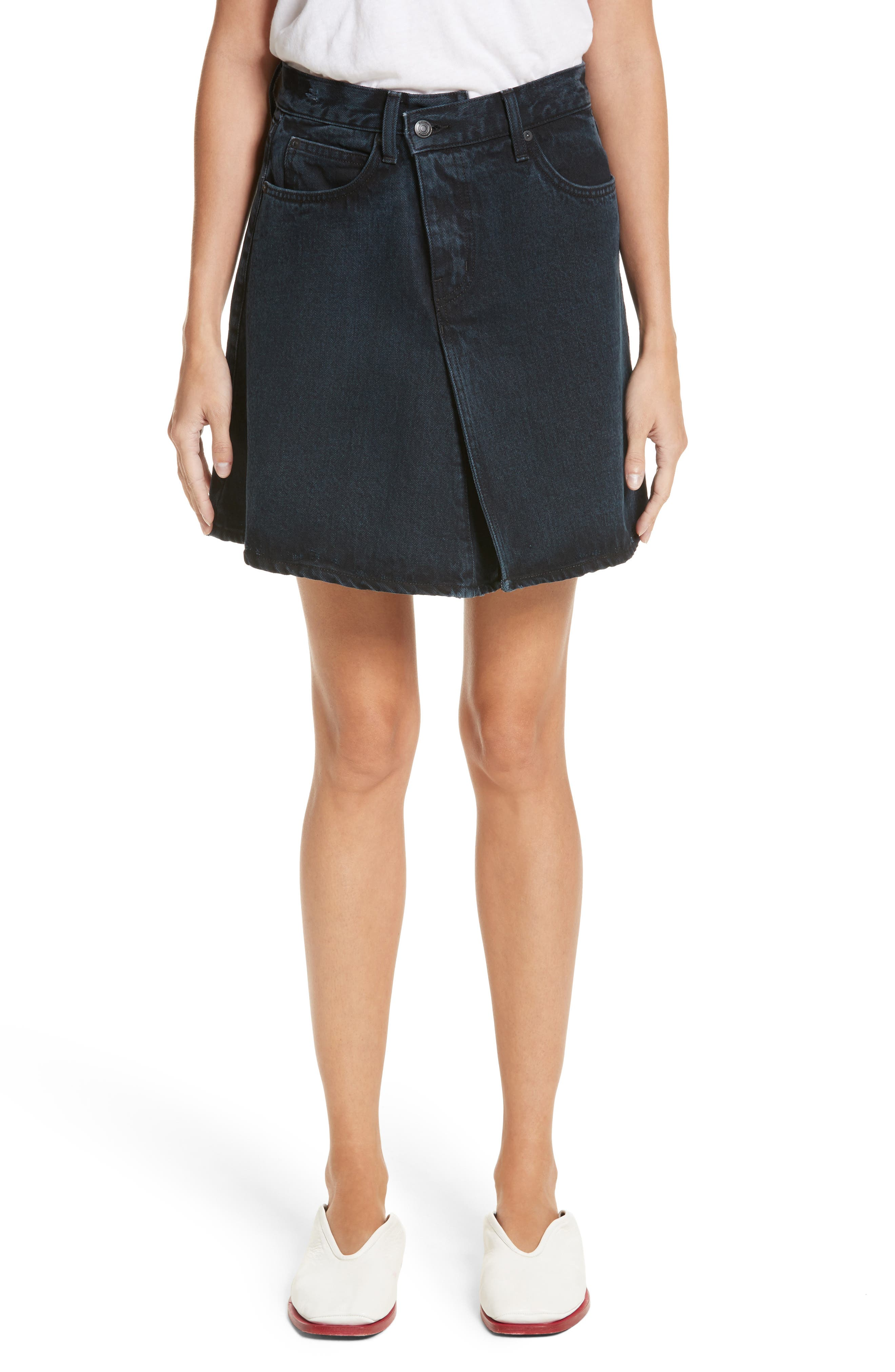PSWL Folded Denim Skirt,                             Main thumbnail 1, color,                             Stone Washed Black