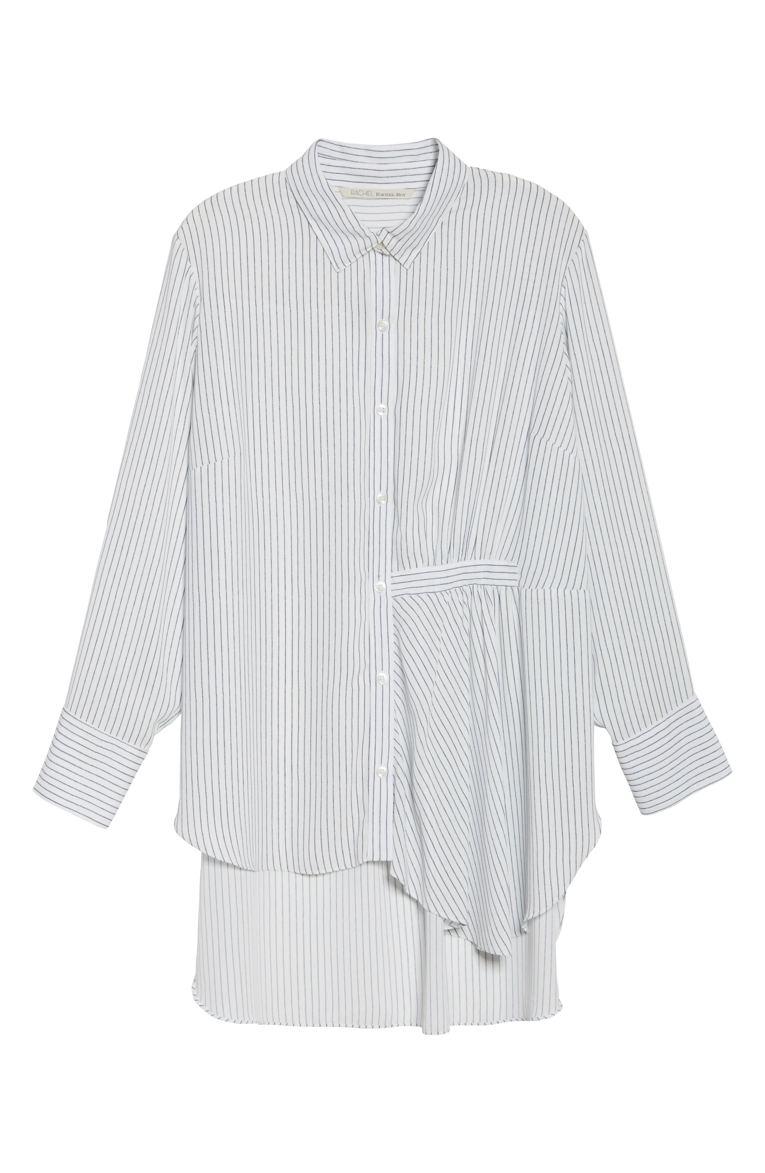 Alternate Image 6  - RACHEL Rachel Roy High/Low Pinstripe Shirt (Plus Size)