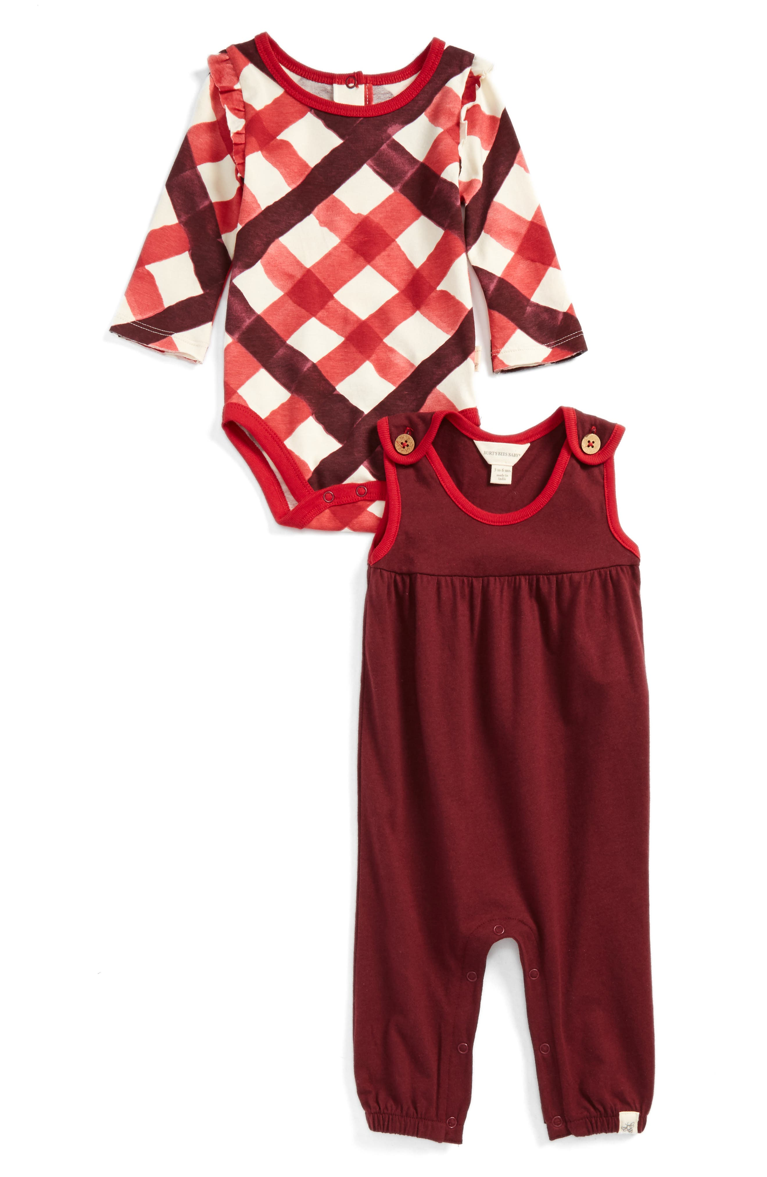 Alternate Image 1 Selected - Burt's Bees Baby Ruffle Bodysuit & Romper Set (Baby Girls)