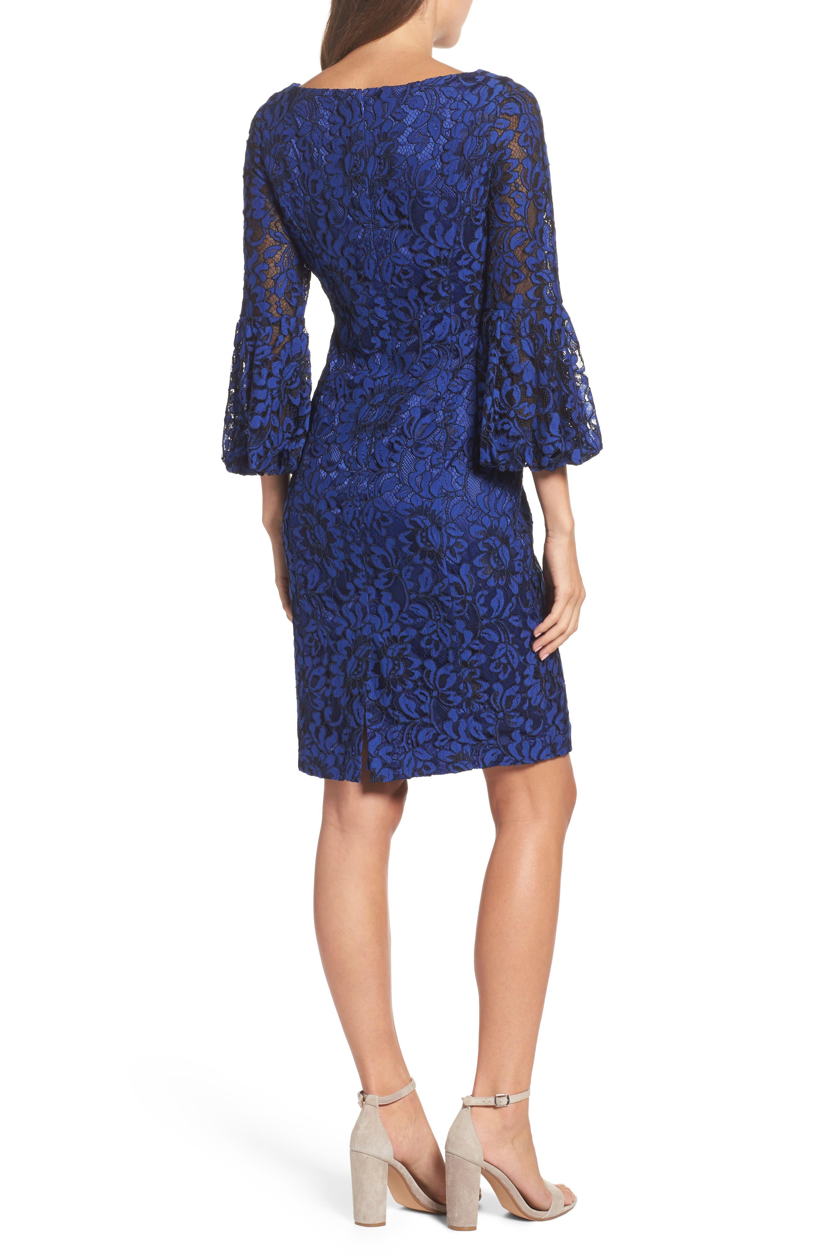 Bell Sleeve Lace Sheath Dress,                             Alternate thumbnail 2, color,                             Cobalt