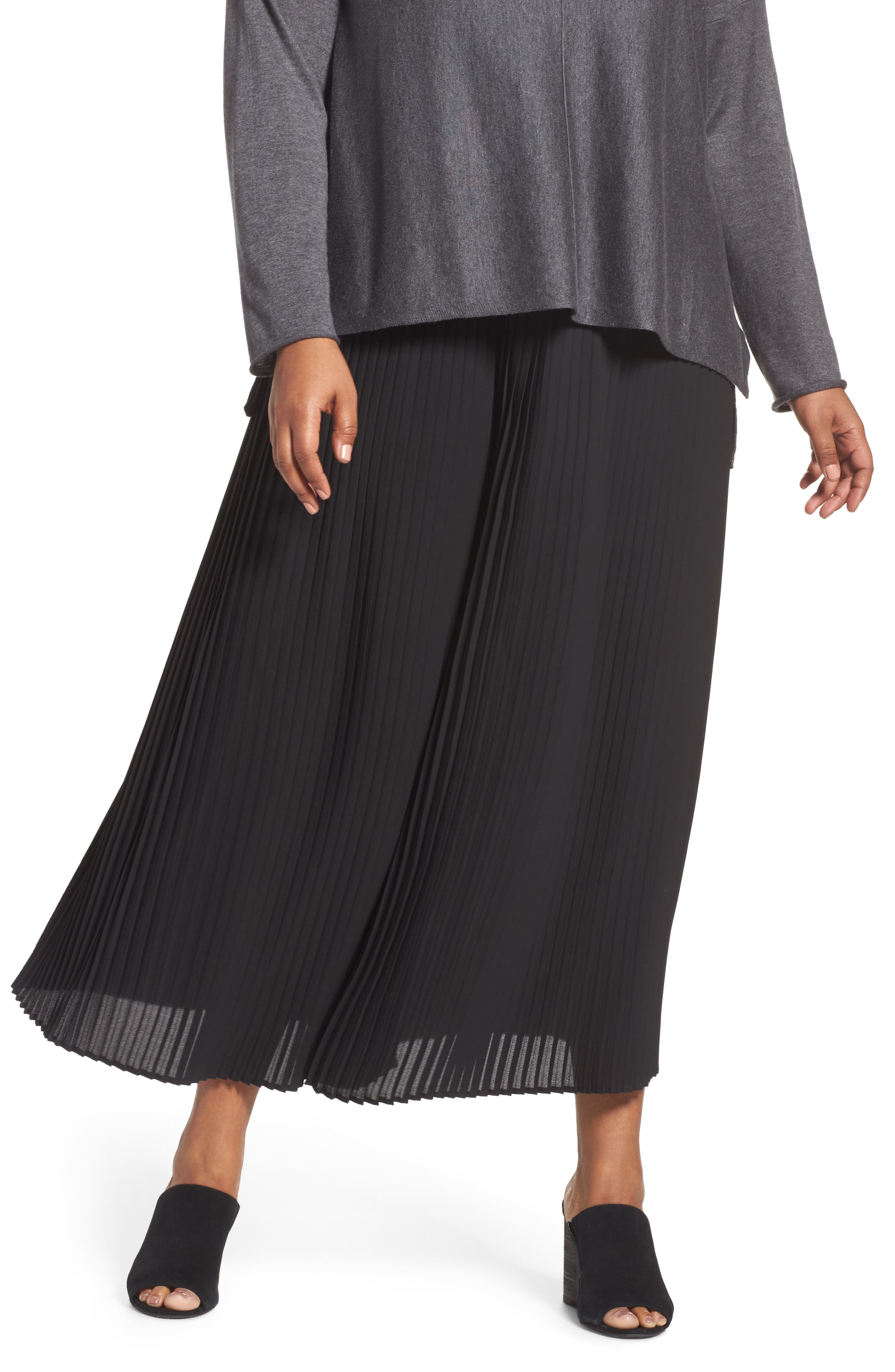 Alternate Image 1 Selected - Eileen Fisher Pleat Wide Leg Ankle Pants (Plus Size)