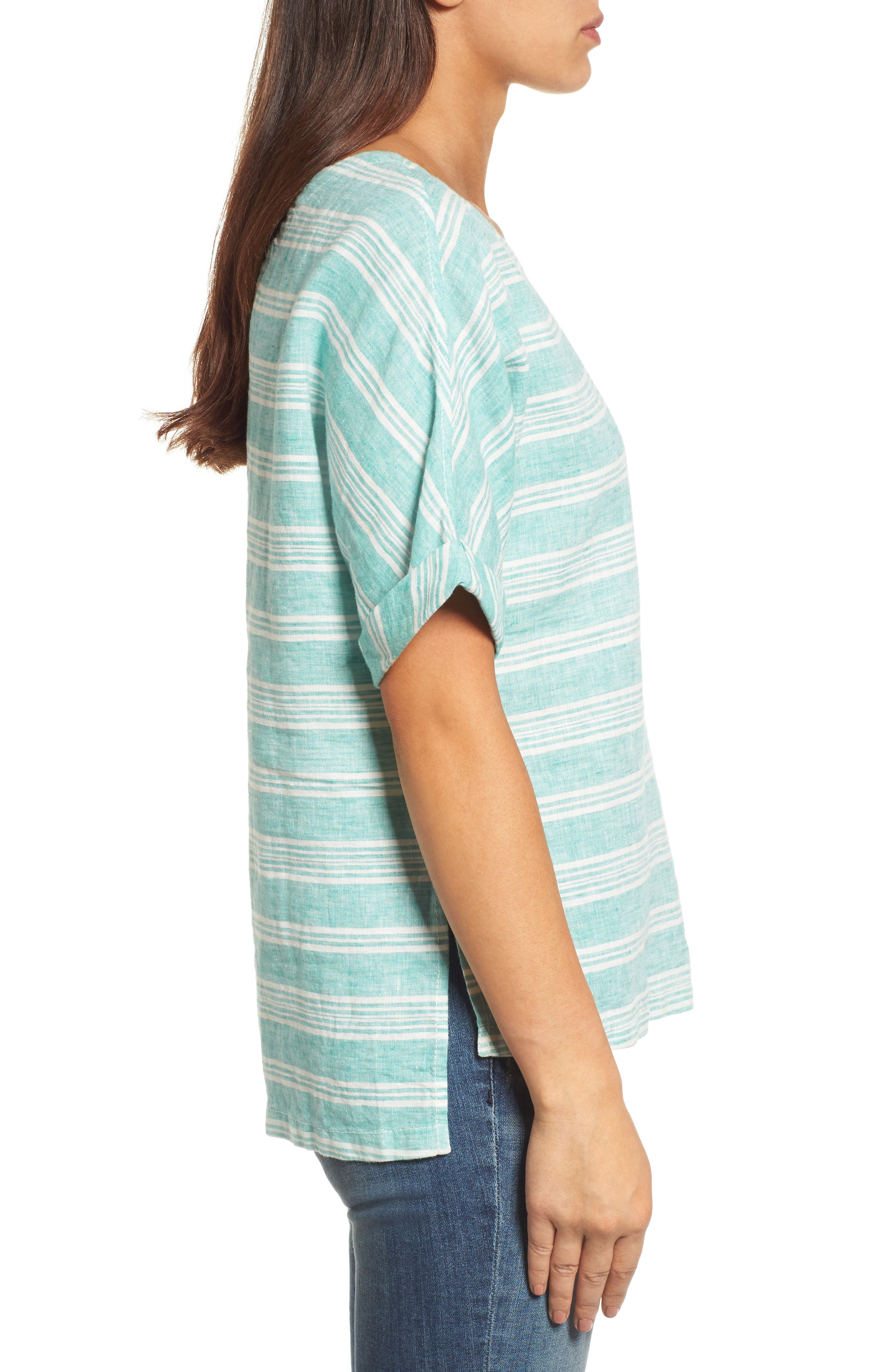 V-Back Linen Top,                             Alternate thumbnail 3, color,                             Green- Ivory Stripe