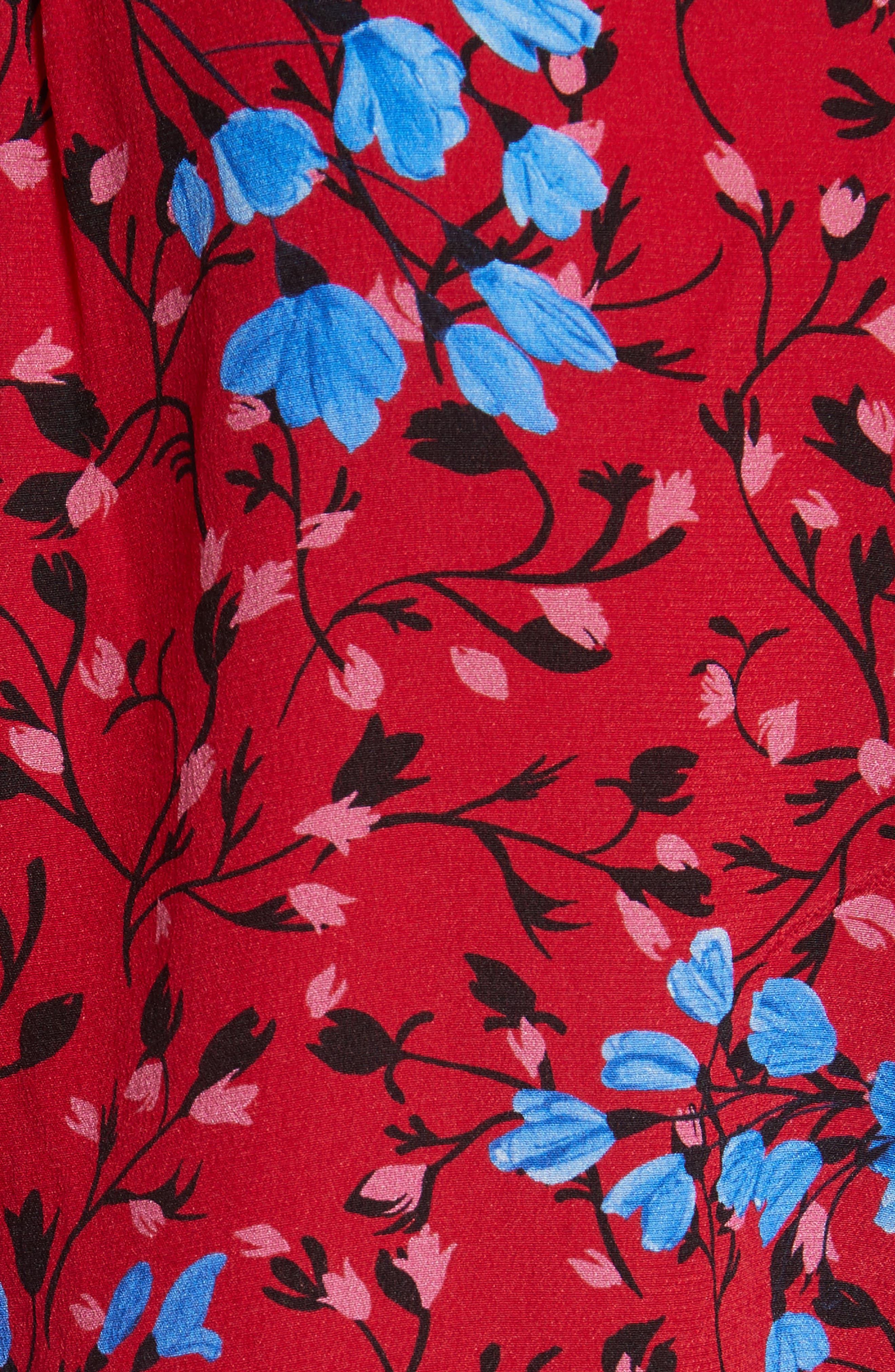 Ali Floral Print Silk Top,                             Alternate thumbnail 5, color,                             Scarlet Posey