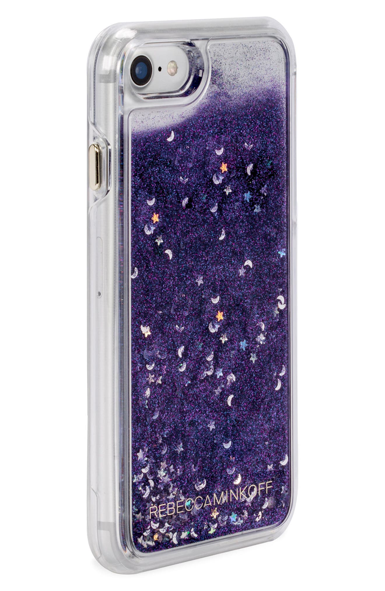 Galaxy Glitter iPhone 7/8 & 7/8 Plus Case,                             Alternate thumbnail 3, color,                             Black Blue Glitter