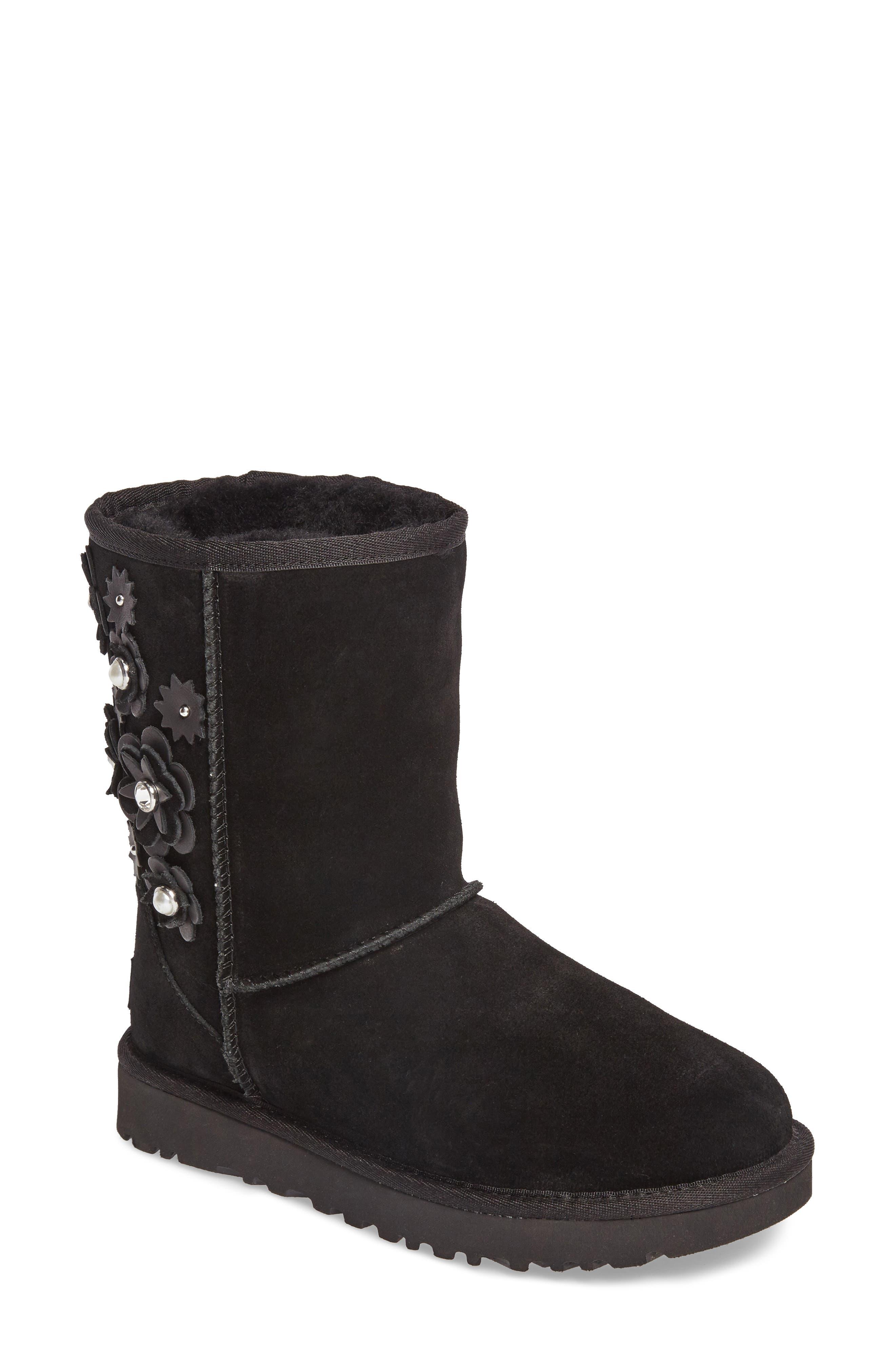 Classic Short Petal Boot,                             Main thumbnail 1, color,                             Black Suede