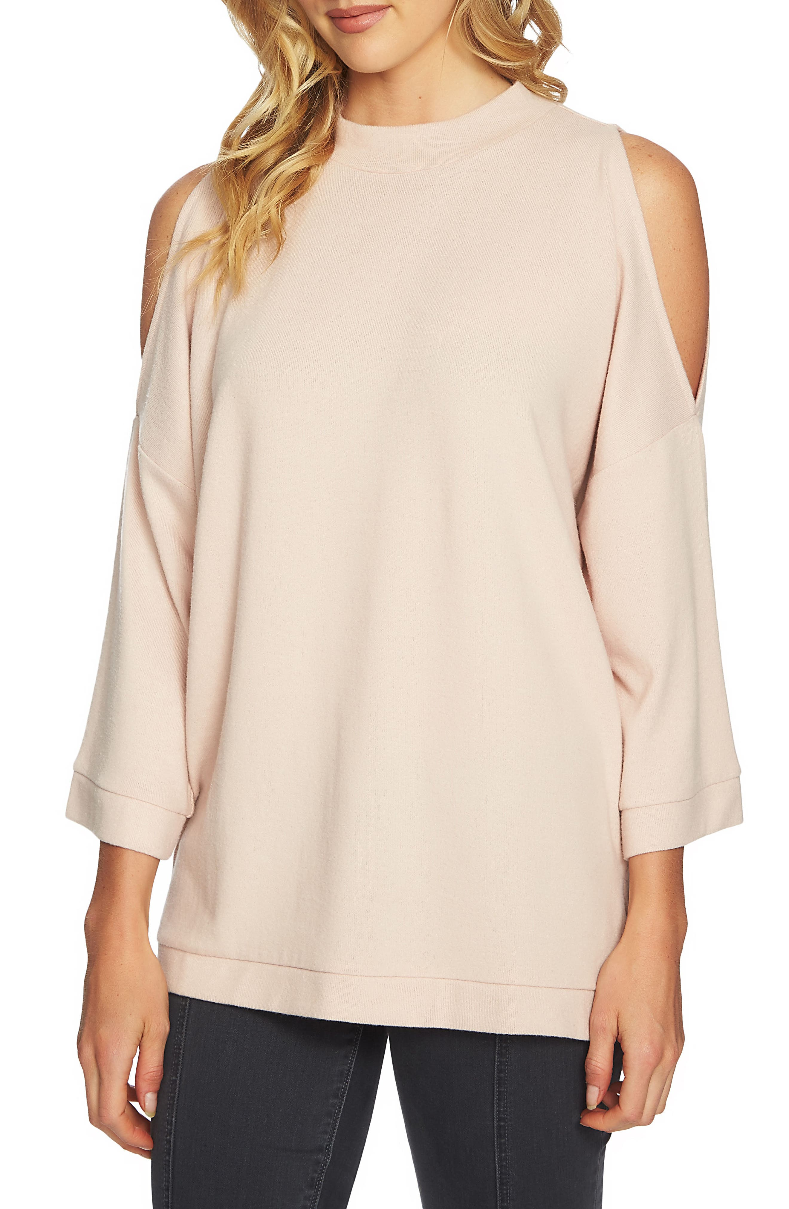 The Cozy Cold Shoulder Top,                         Main,                         color, Blush Frost