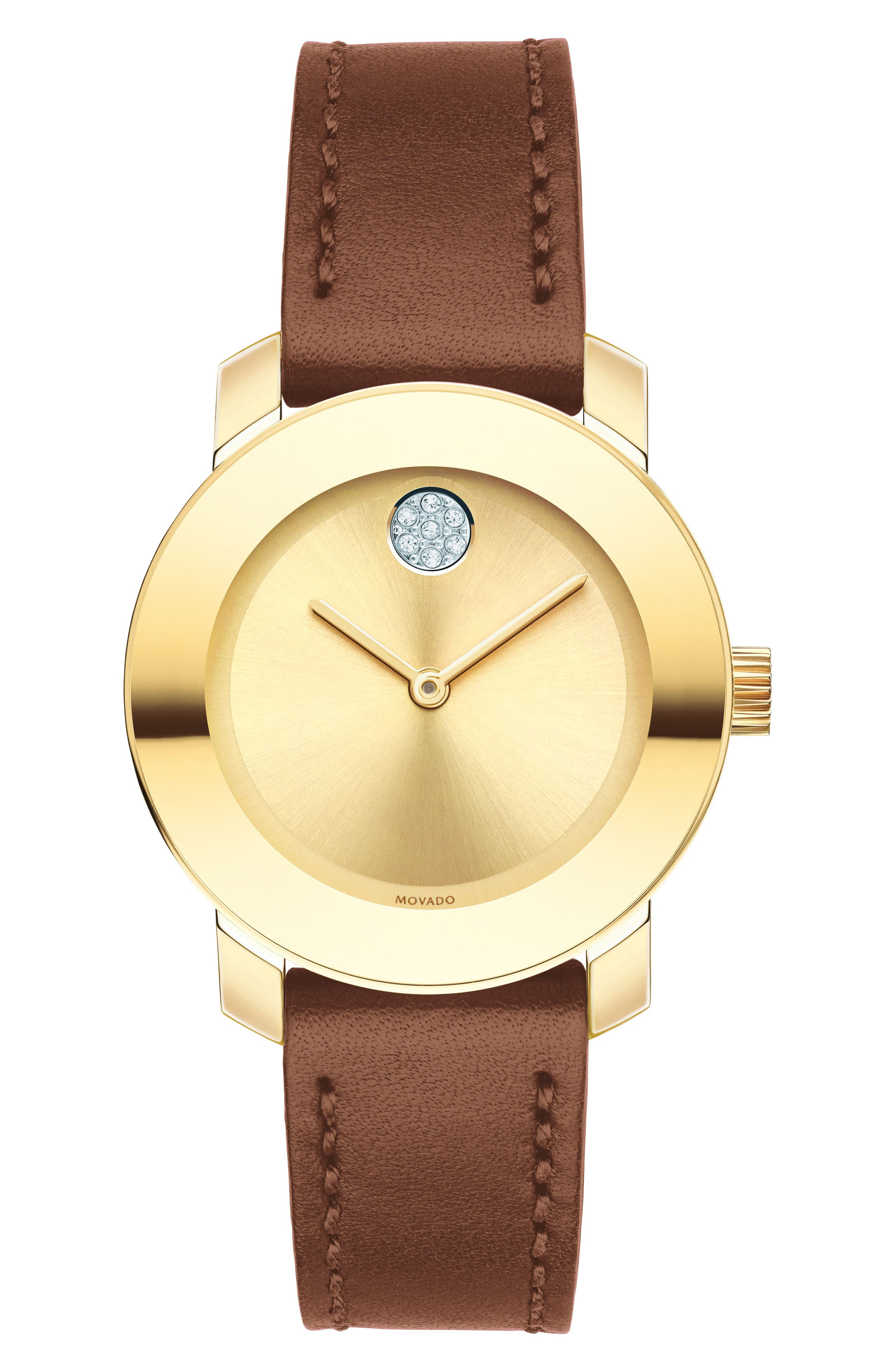 Bold Crystal Accent Leather Strap Watch, 30mm,                         Main,                         color, Brown/ Gold