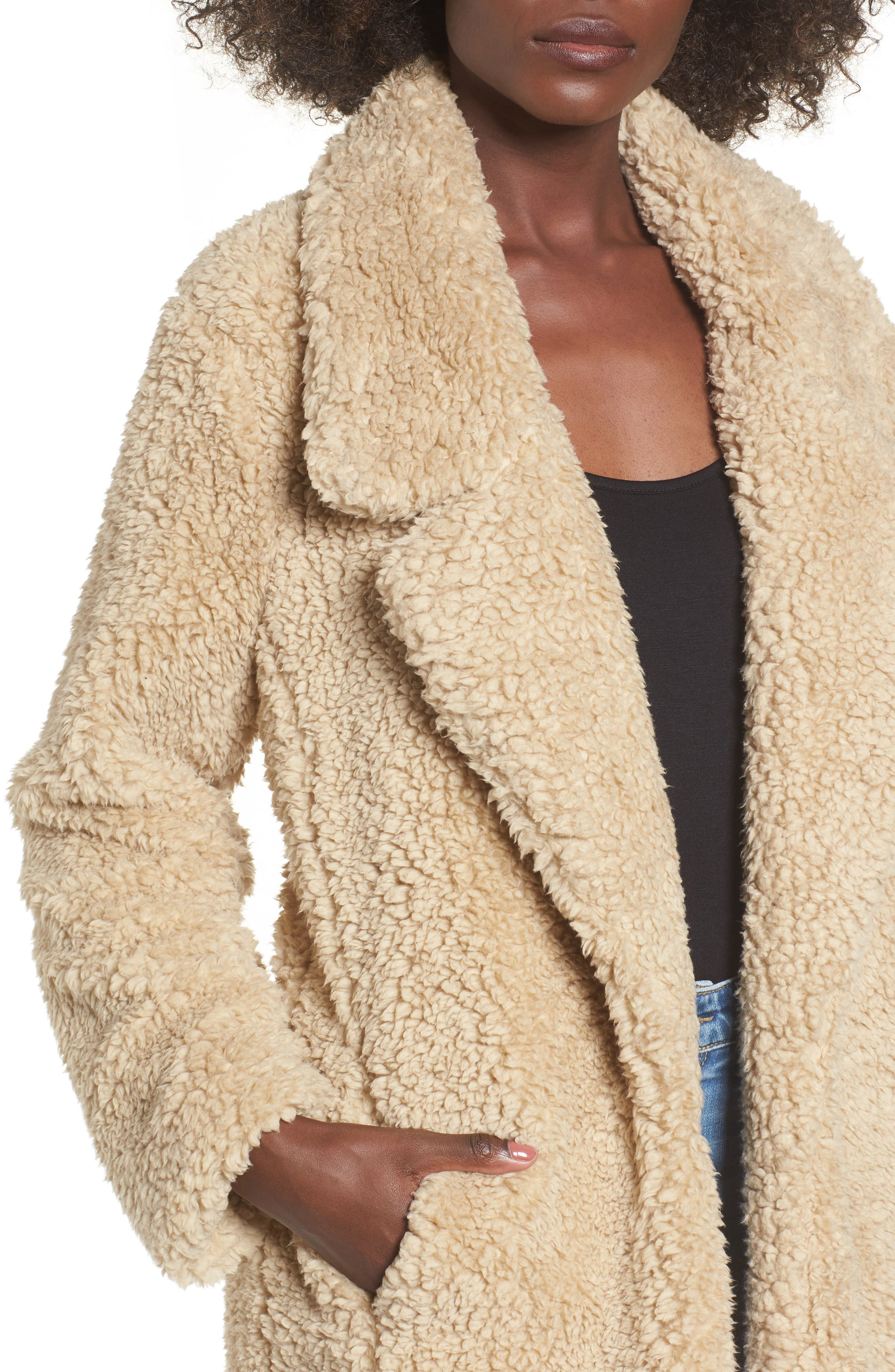 Violet Teddy Bear Coat,                             Alternate thumbnail 4, color,                             Beige